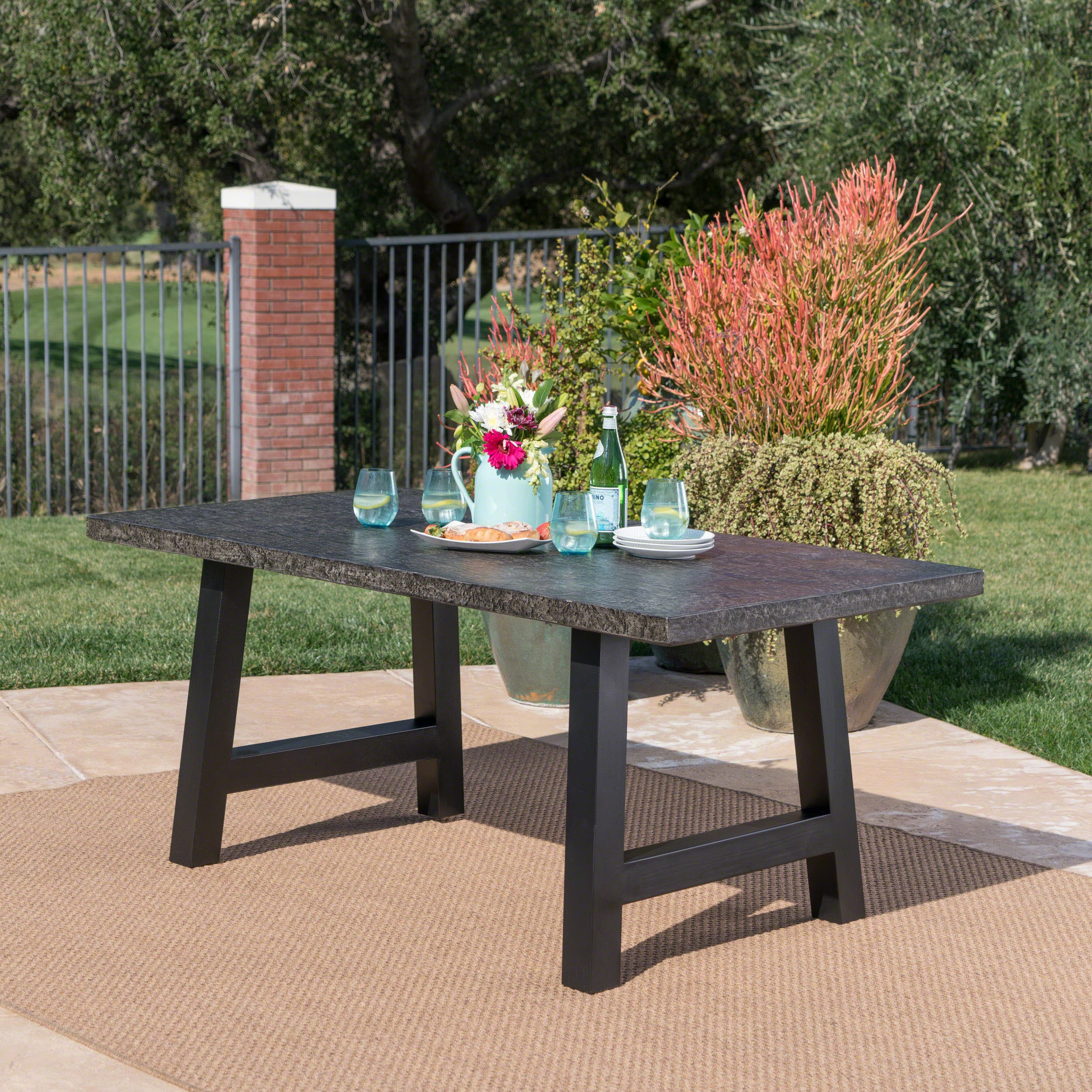 Valencia Outdoor Rectangle Light Weight Concrete Dining Table By Christopher Knight Home On Free Shipping Today 20201934