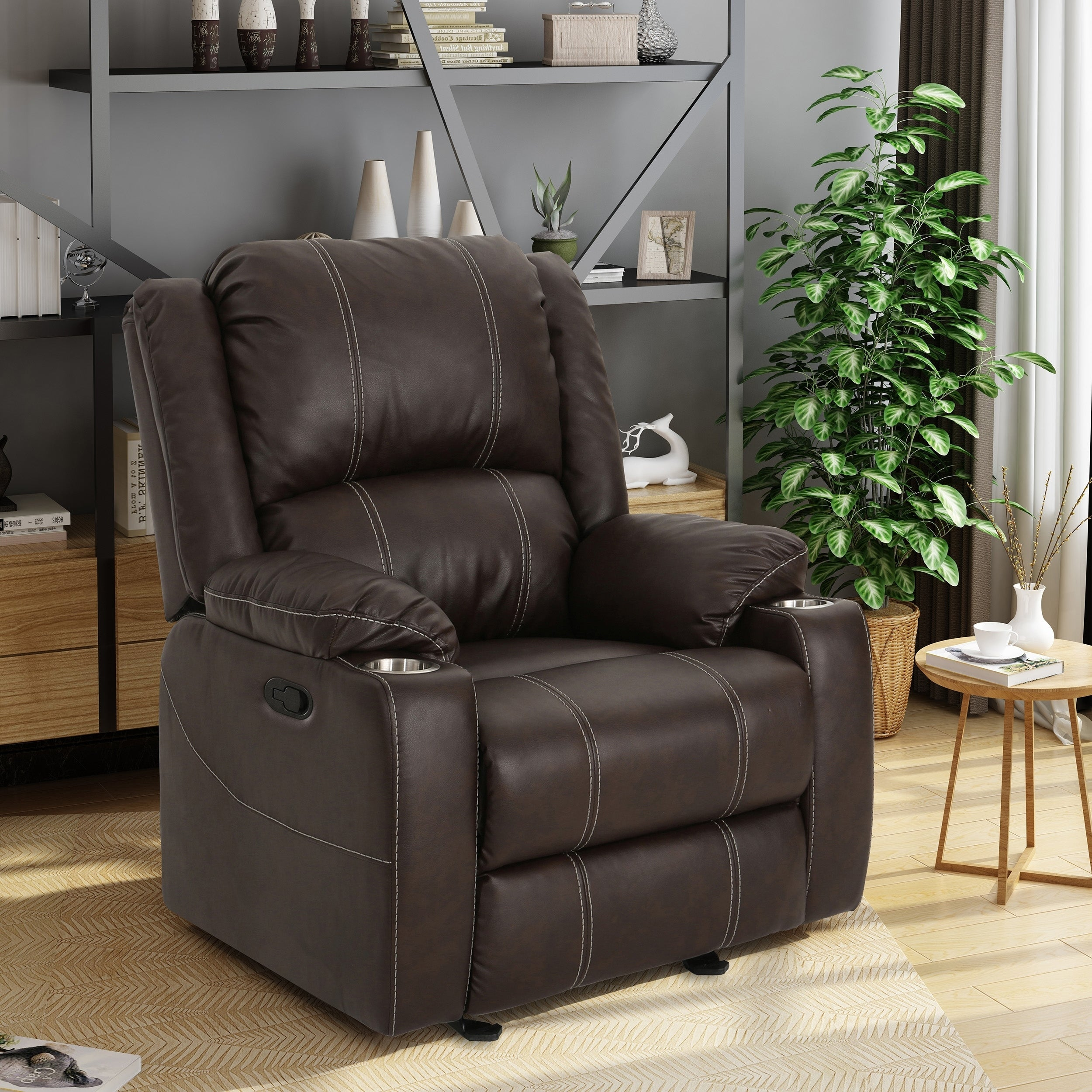 Shop Sarina Traditional Faux Leather Recliner Club Chair With Cup Holder By Christopher  Knight Home   On Sale   Free Shipping Today   Overstock.com   ...