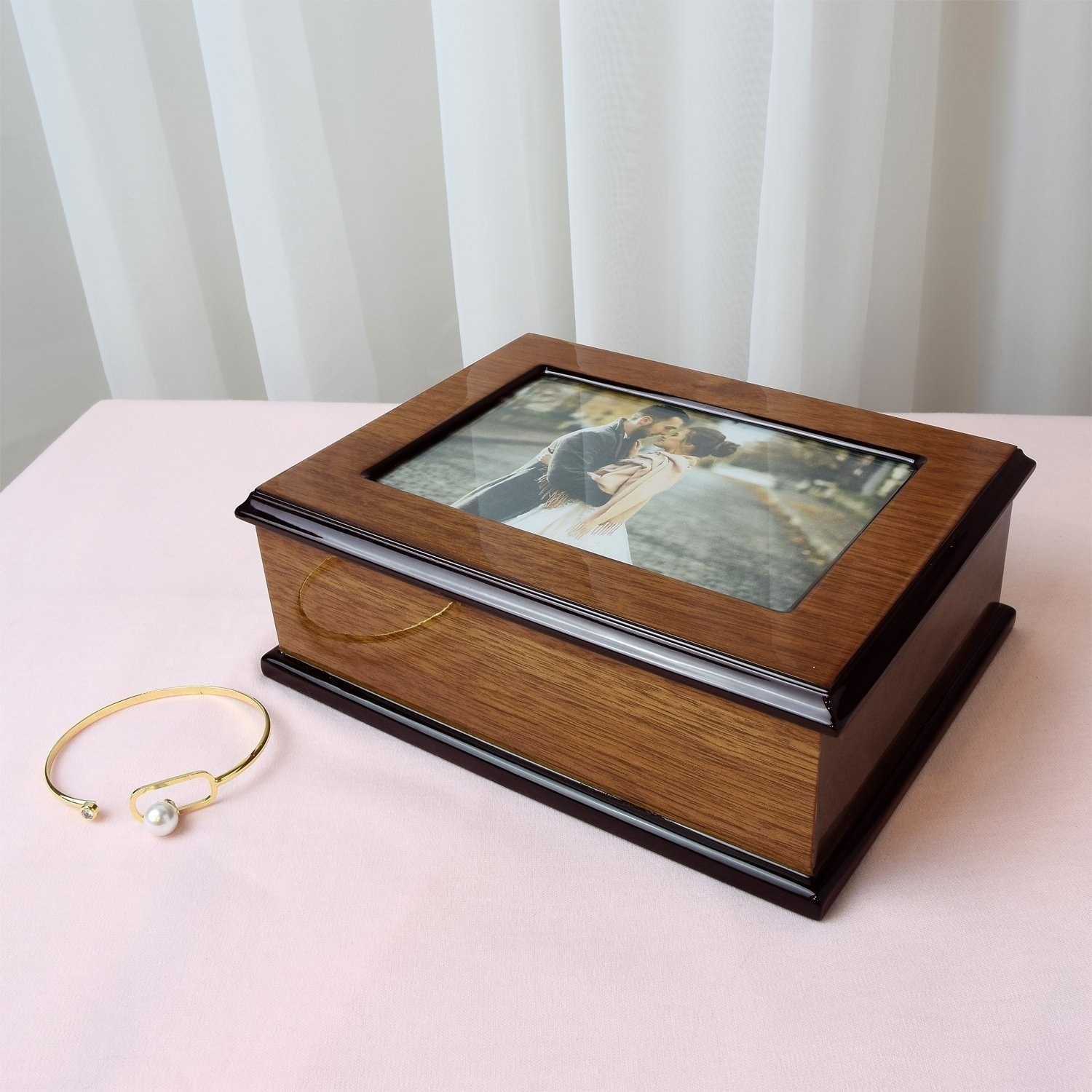 Shop Ikee Design Wooden Glossy Musical Jewelry Box With 4x6 Photo