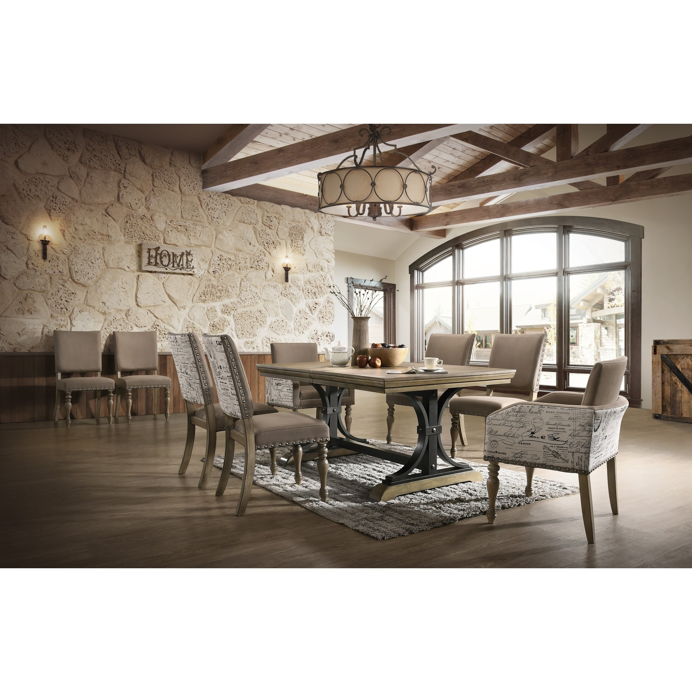 Birmingham 9 Piece Removable Leaf Table With Arm Dining Chairs Set