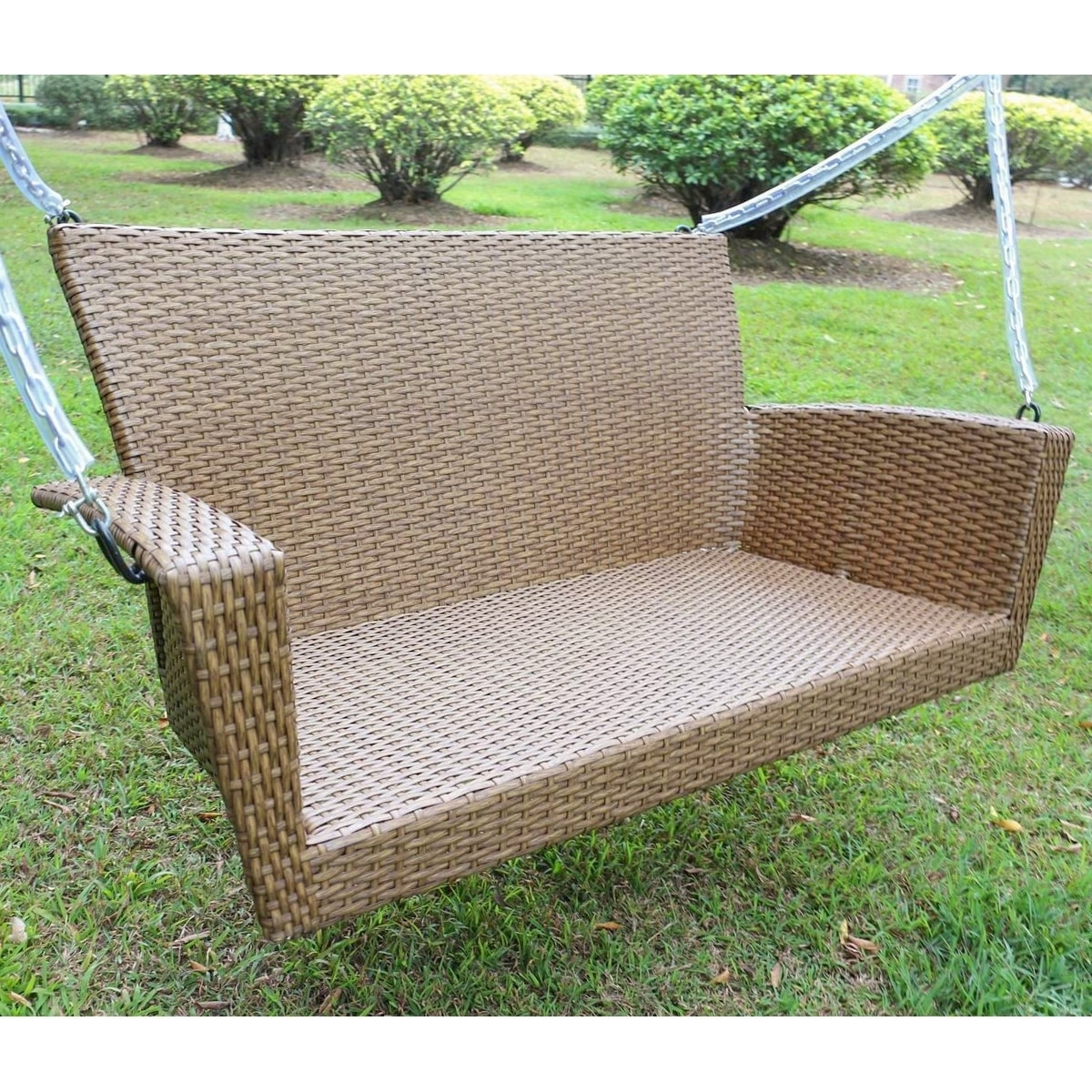 steel porch outdoor swing weather chair resistant sturdy uv furniture wooden material bay patio synthetic metal hanging color size large resin white rattan wicker frame of swings brown chains casco and