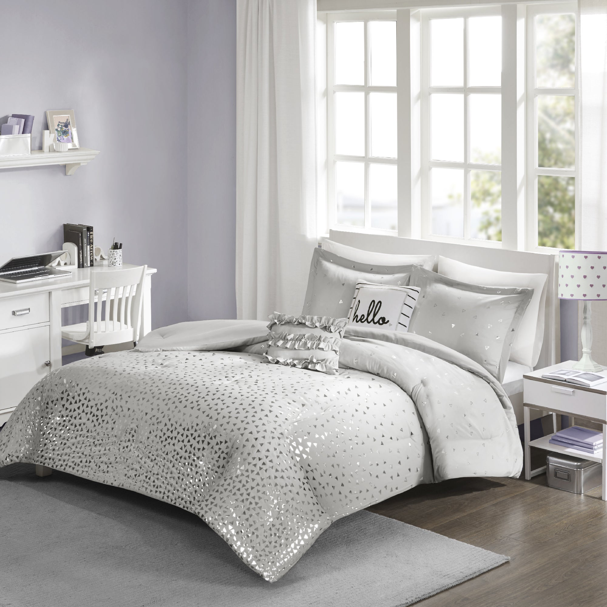 bedroom embroidered ceramic silver bedside with piece white set and comforter simple sheer lamp curtain small table