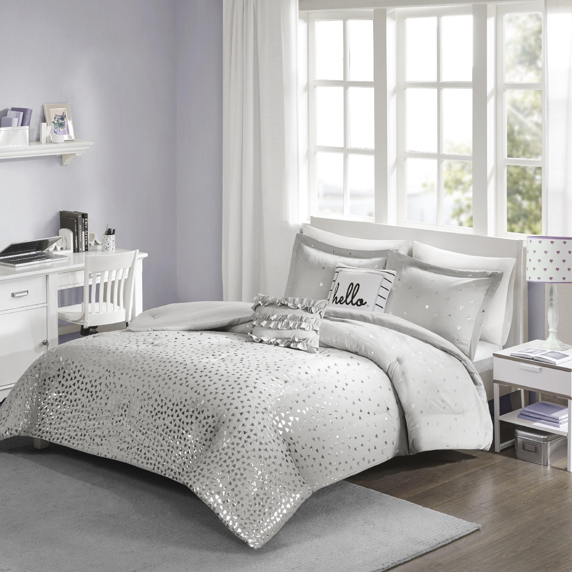 queen gray sets purple black comforter set white silver pcs bedding