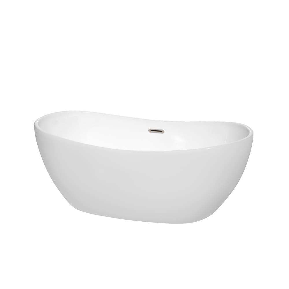 Shop Rebecca 60-inch Freestanding White Bathtub with Trim Options ...