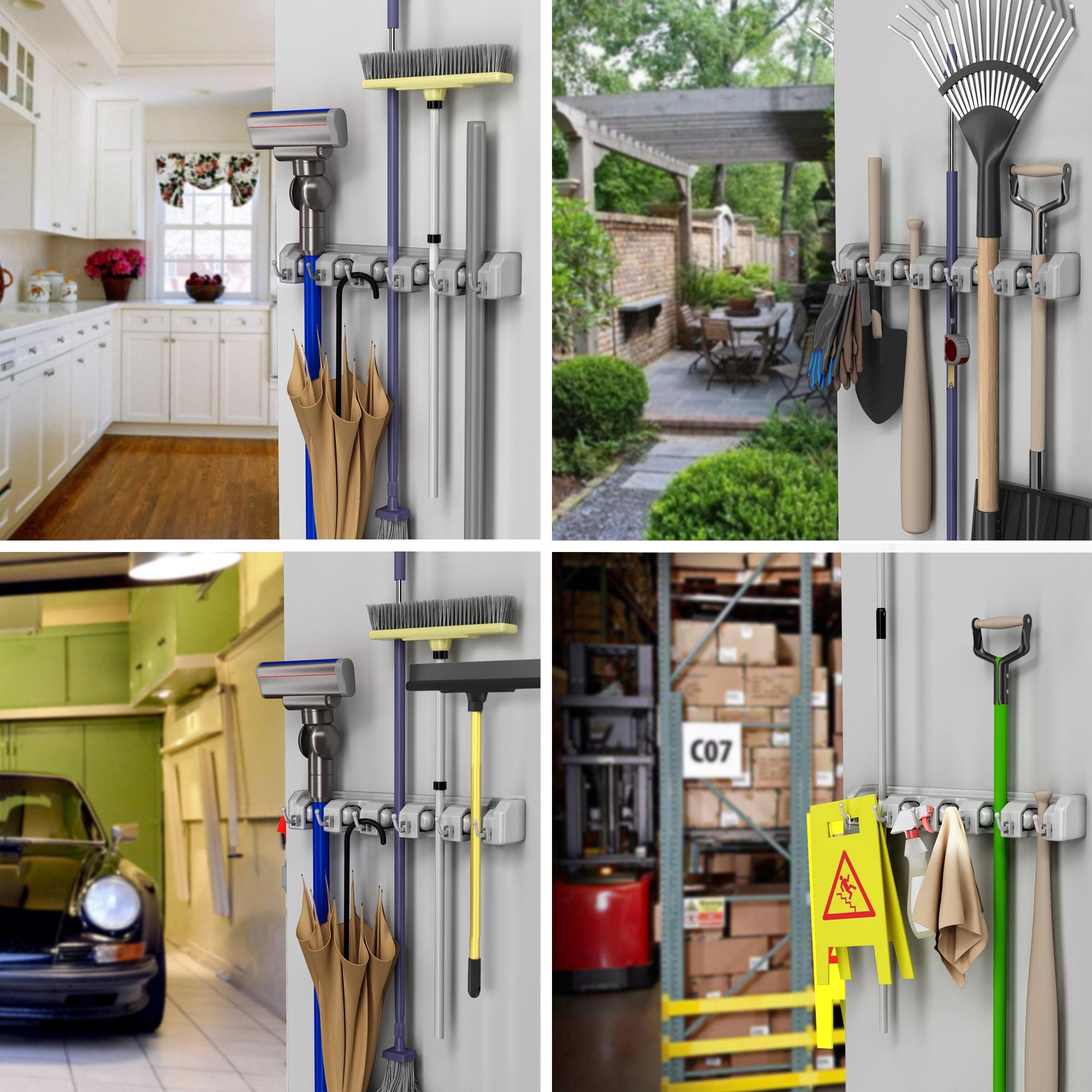 Shop Shovel, Rake and Tool Holder with Hooks- Wall Mounted Organizer ...