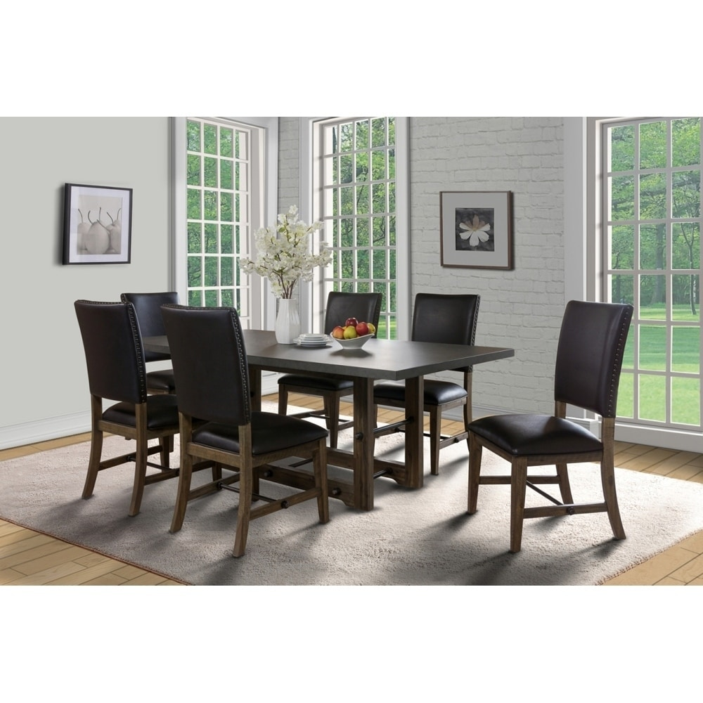 Shop canton walnut and grey concrete top dining table on sale free shipping today overstock com 20222780