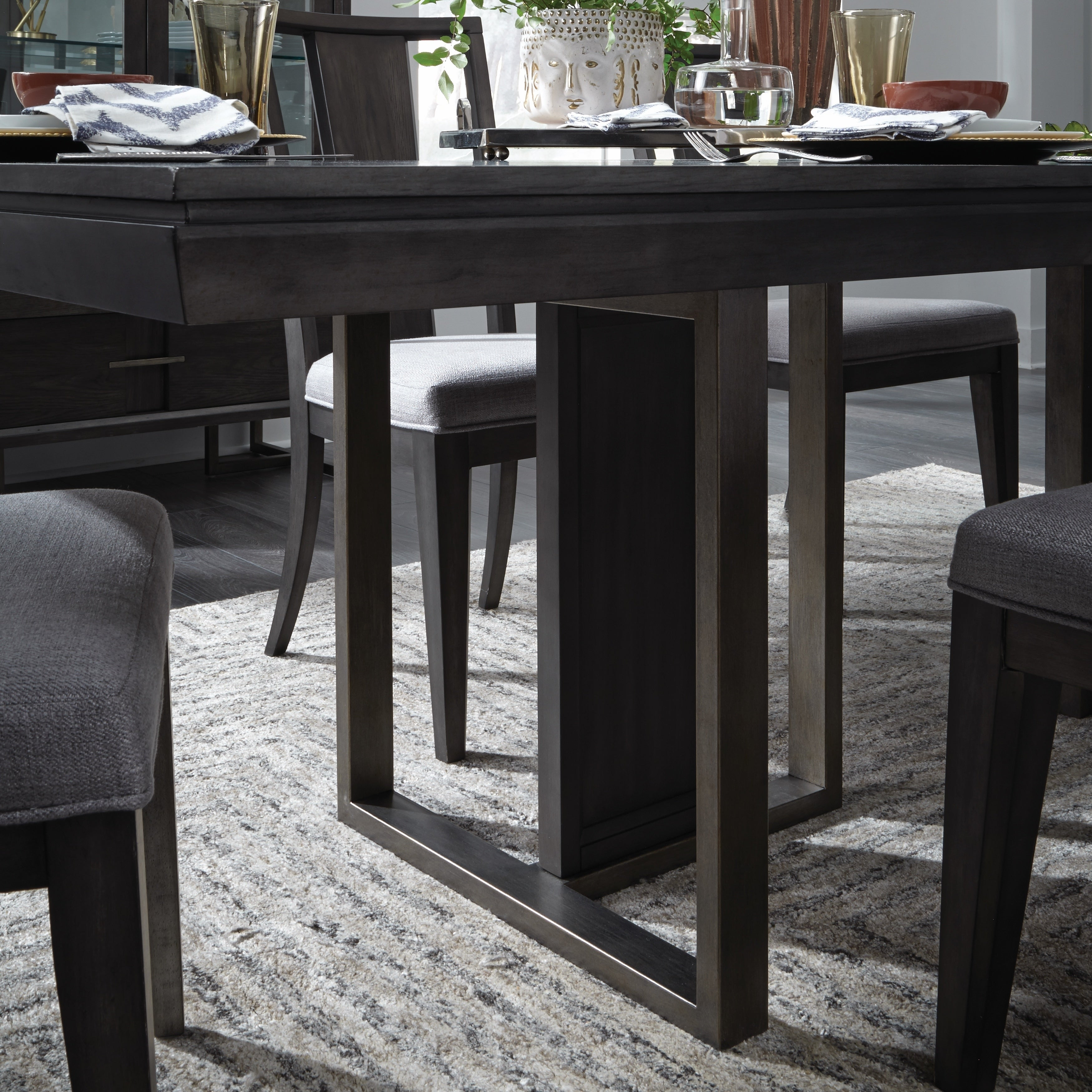 Proximity Heights Contemporary Double Pedestal Dining Table Smoke Anthracite 40 L X 78 W 30 H On Free Shipping Today