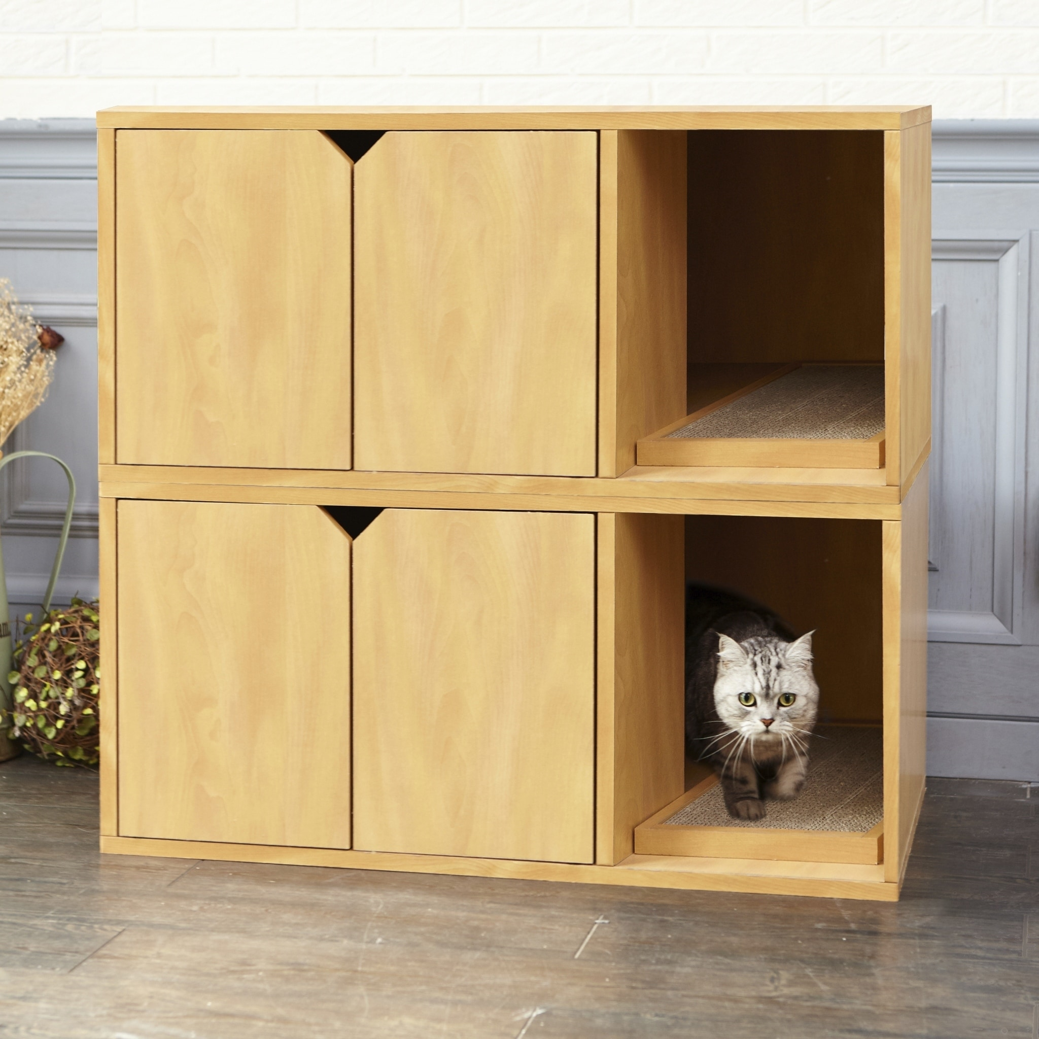Eco Modern Double Cat Litter Box Furniture Natural Lifetime Guarantee Ships To Canada 20223904