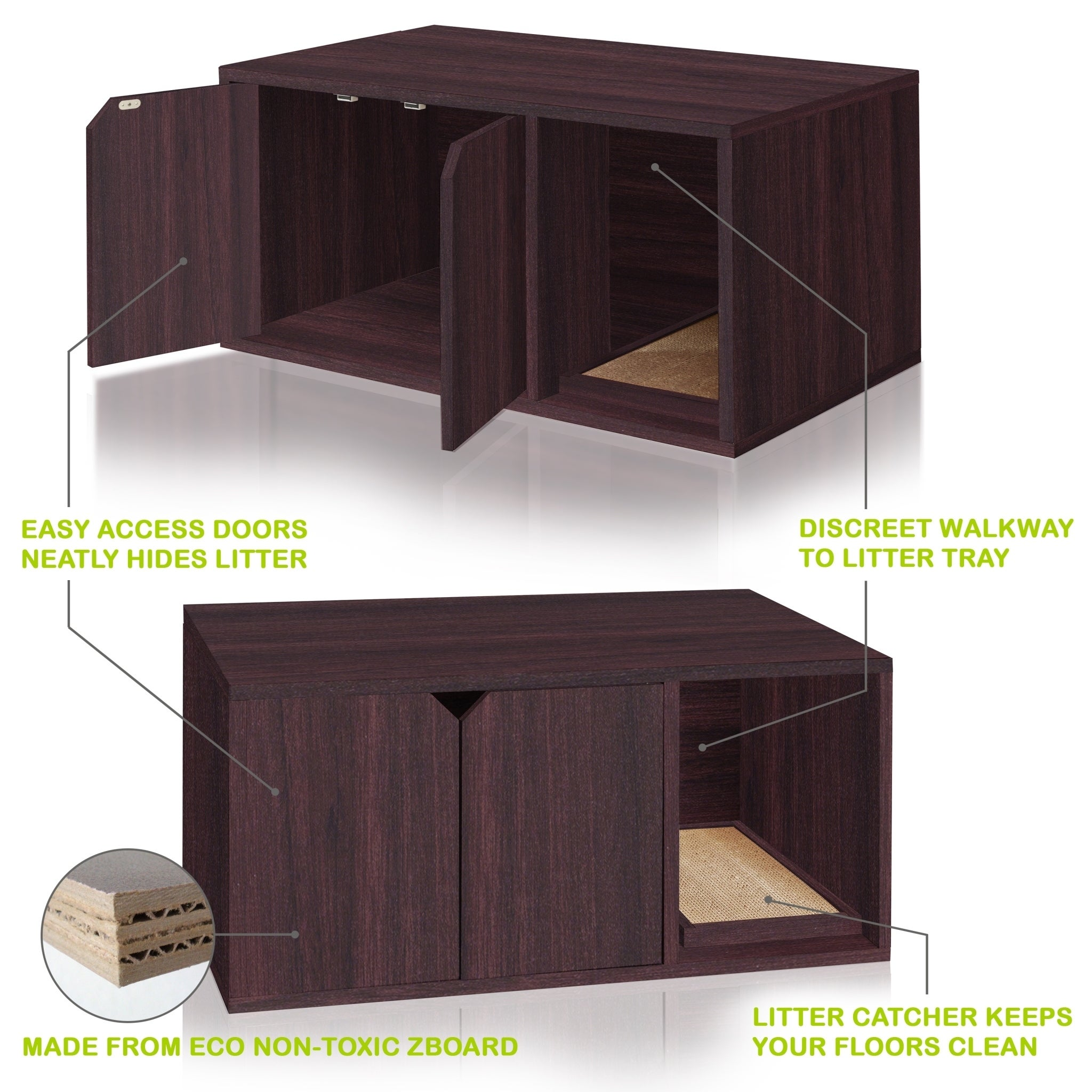 Shop Eco Modern Double Cat Litter Box Furniture,Espresso LIFETIME GUARANTEE    Free Shipping Today   Overstock.com   20223906