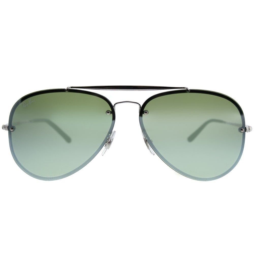 220ea5ac4 Shop Ray-Ban Aviator RB 3584N Blaze Aviator 905130 Unisex Silver Frame  Green Mirror Lens Sunglasses - Ships To Canada - Overstock - 20224314