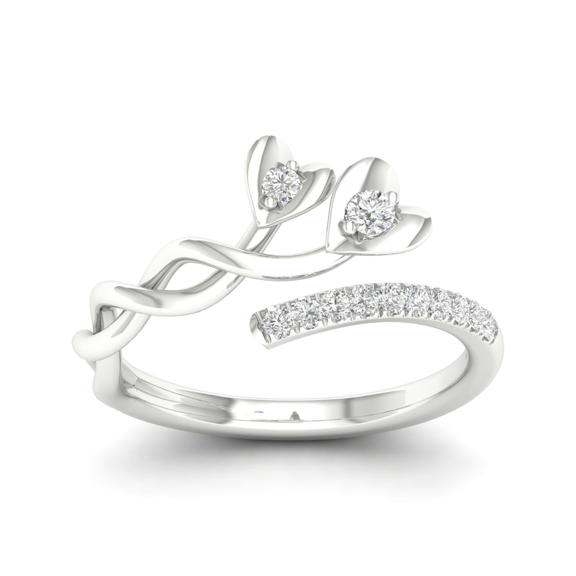 01c6be9502b8b7 Shop De Couer 10k White Gold 1/6ct TDW Diamond Heart Promise Ring ...