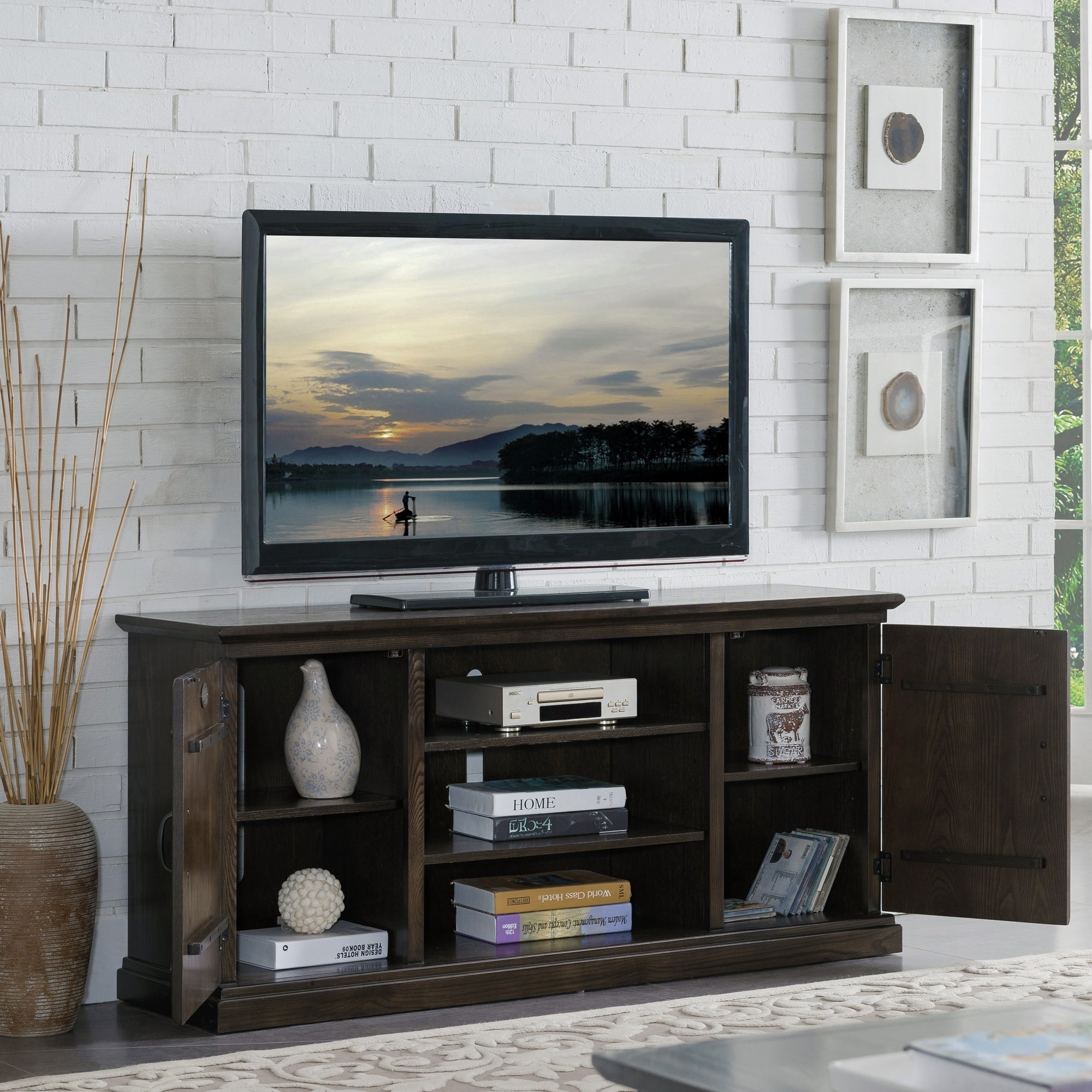 Shop Hunt Club Rustic Oak Wood 55 Inch Tv Stand Free Shipping