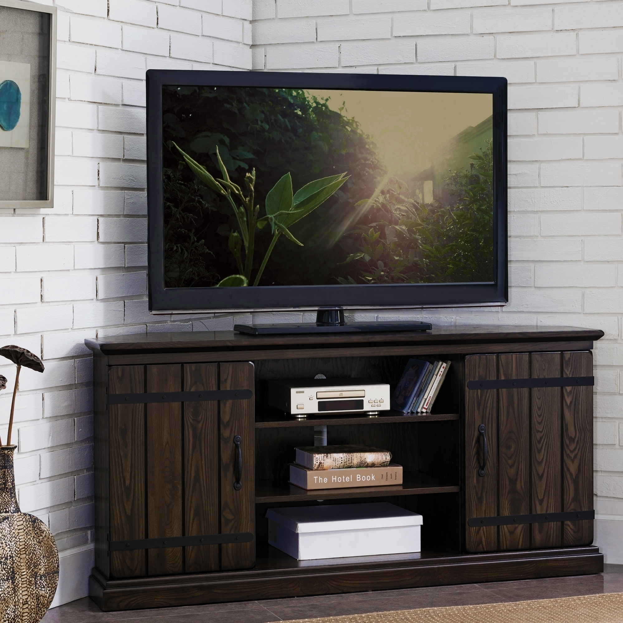 Shop Hunt Club Rustic Oak Wood 55 Inch Corner Tv Stand Free