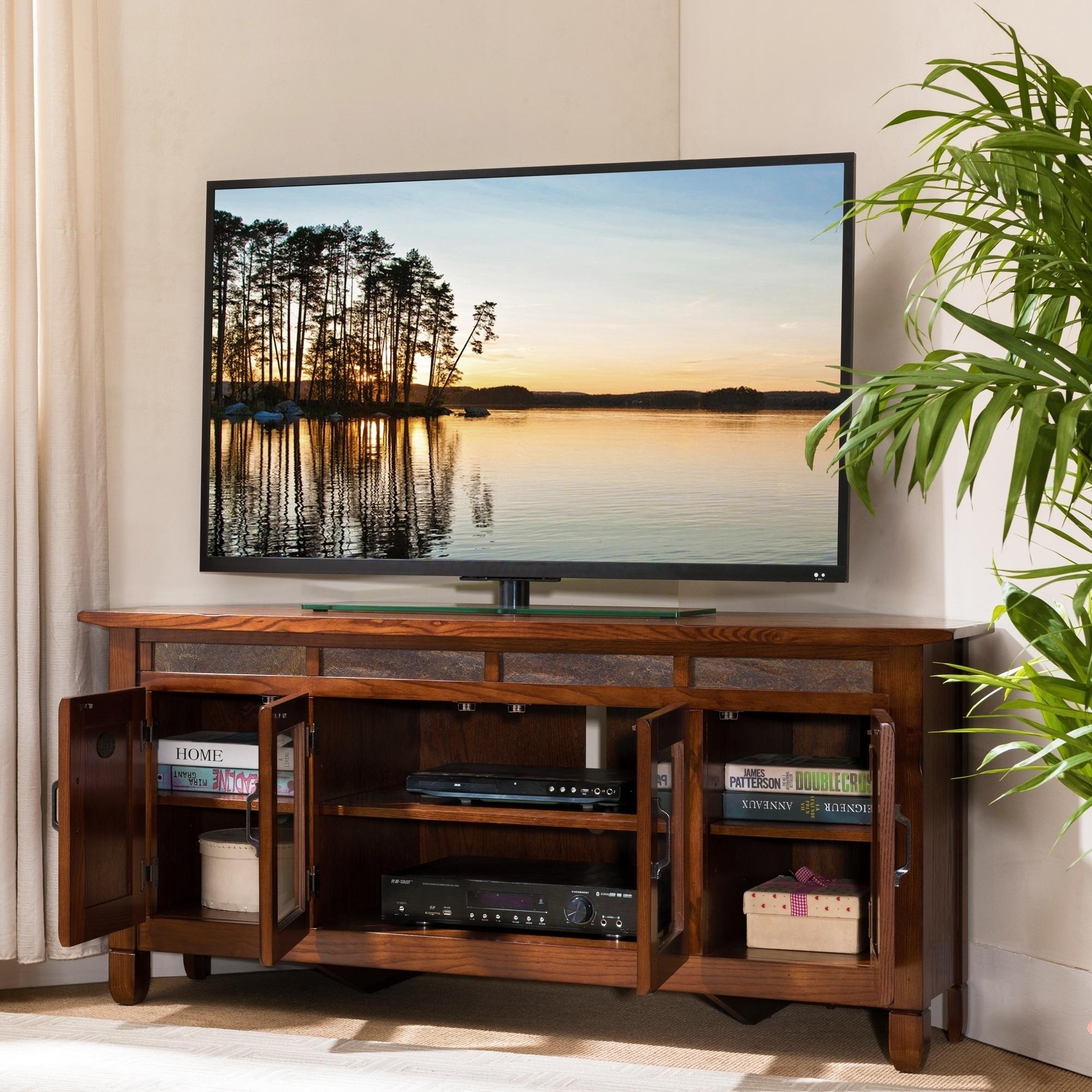 Shop Rustic Oak Wood Slat Tile 56 Inch Corner Tv Stand Free
