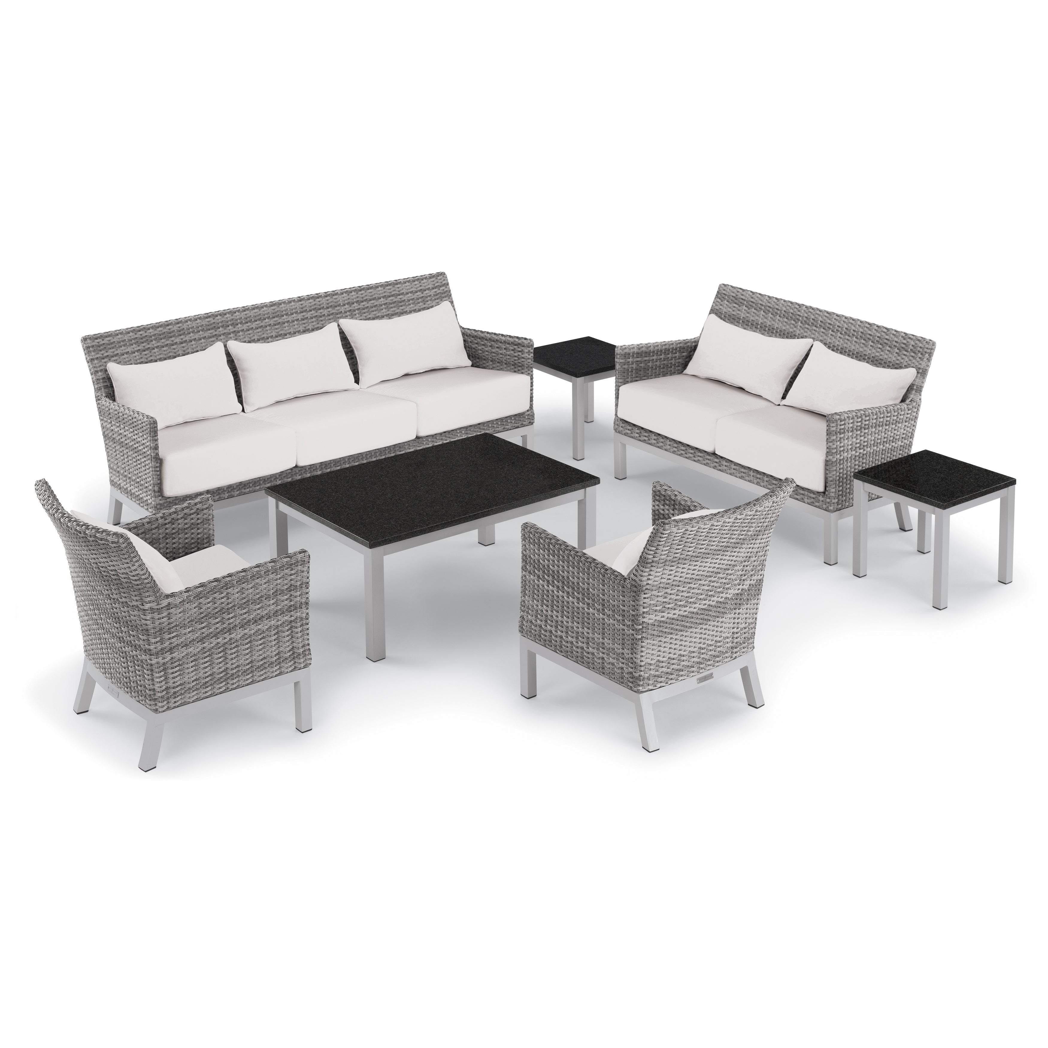 Oxford Garden Argento 7 Piece Resin Wicker Lounge Travira Lite Core Charcoal Table Set Eggshell White Cushions Pillows Free Shipping Today