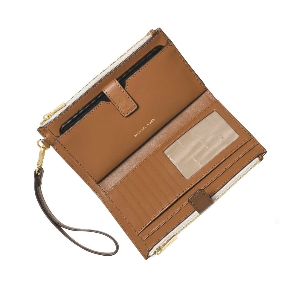 64abb36b6860 Shop Michael Kors Signature Adele Double Zip iPhone 7 Plus Vanilla Wristlet  - Free Shipping Today - Overstock - 20228372