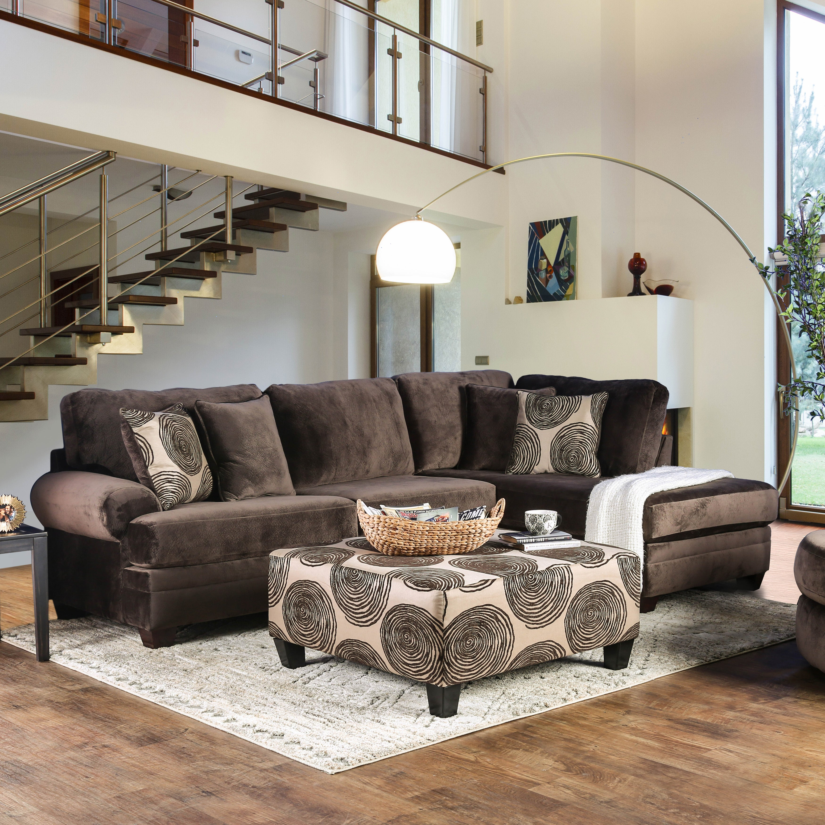Furniture of America Cassavetes Contemporary Microfiber Sectional Sofa