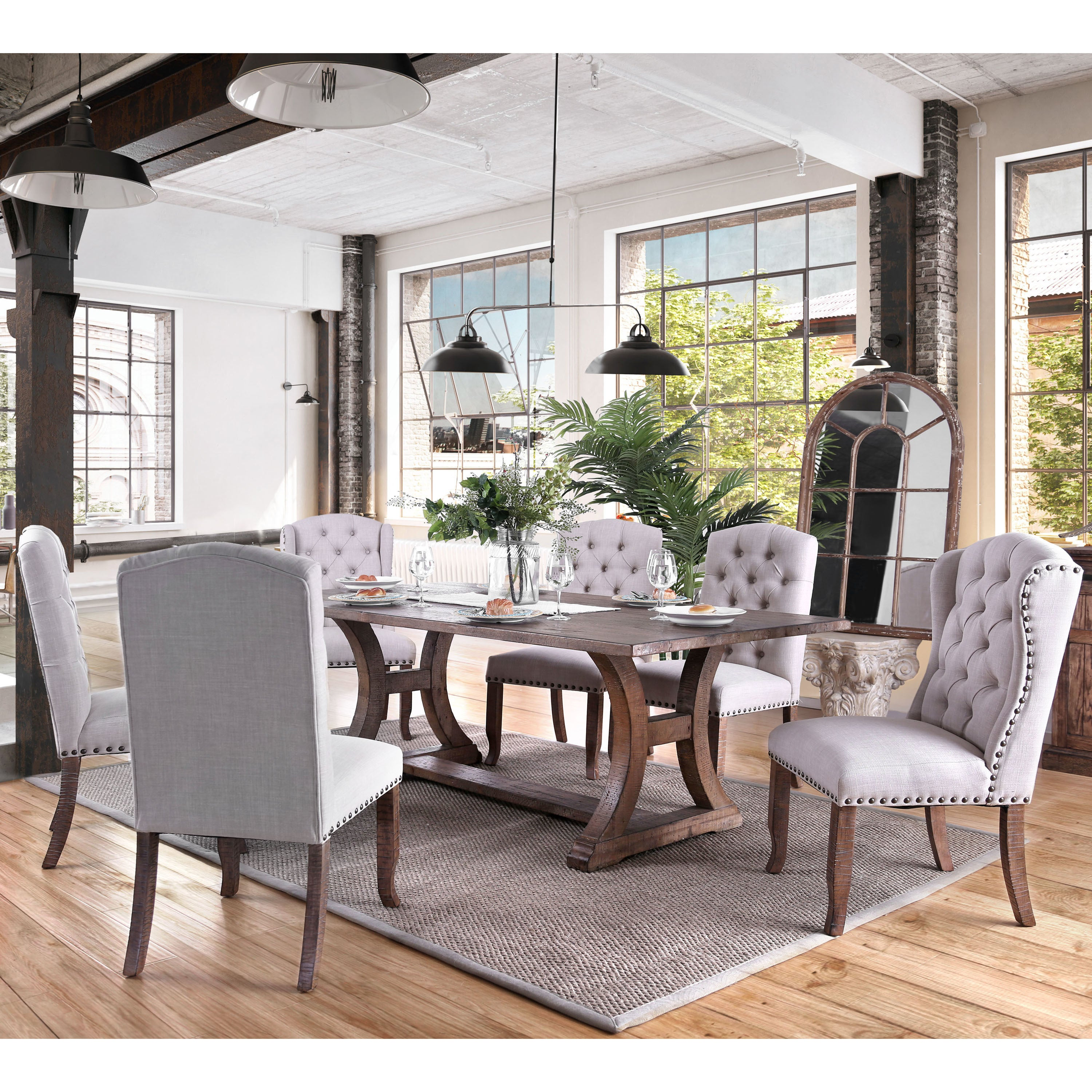 Captivating Furniture Of America Matheson Rustic Tufted Dining Chairs (Set Of 2)   Free  Shipping Today   Overstock   26120439