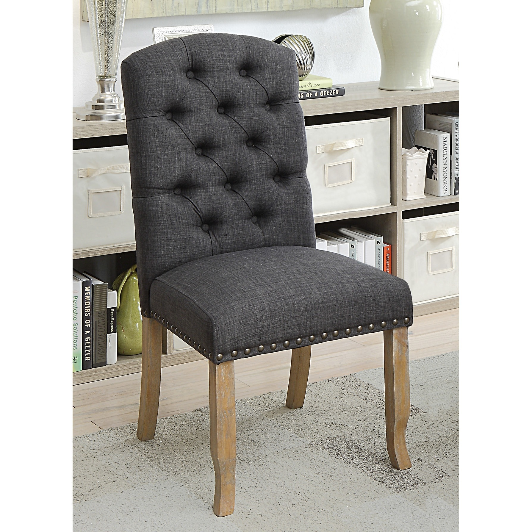 Furniture Of America Matheson Rustic Tufted Dining Chairs (Set Of 2)   Free  Shipping Today   Overstock   26120439