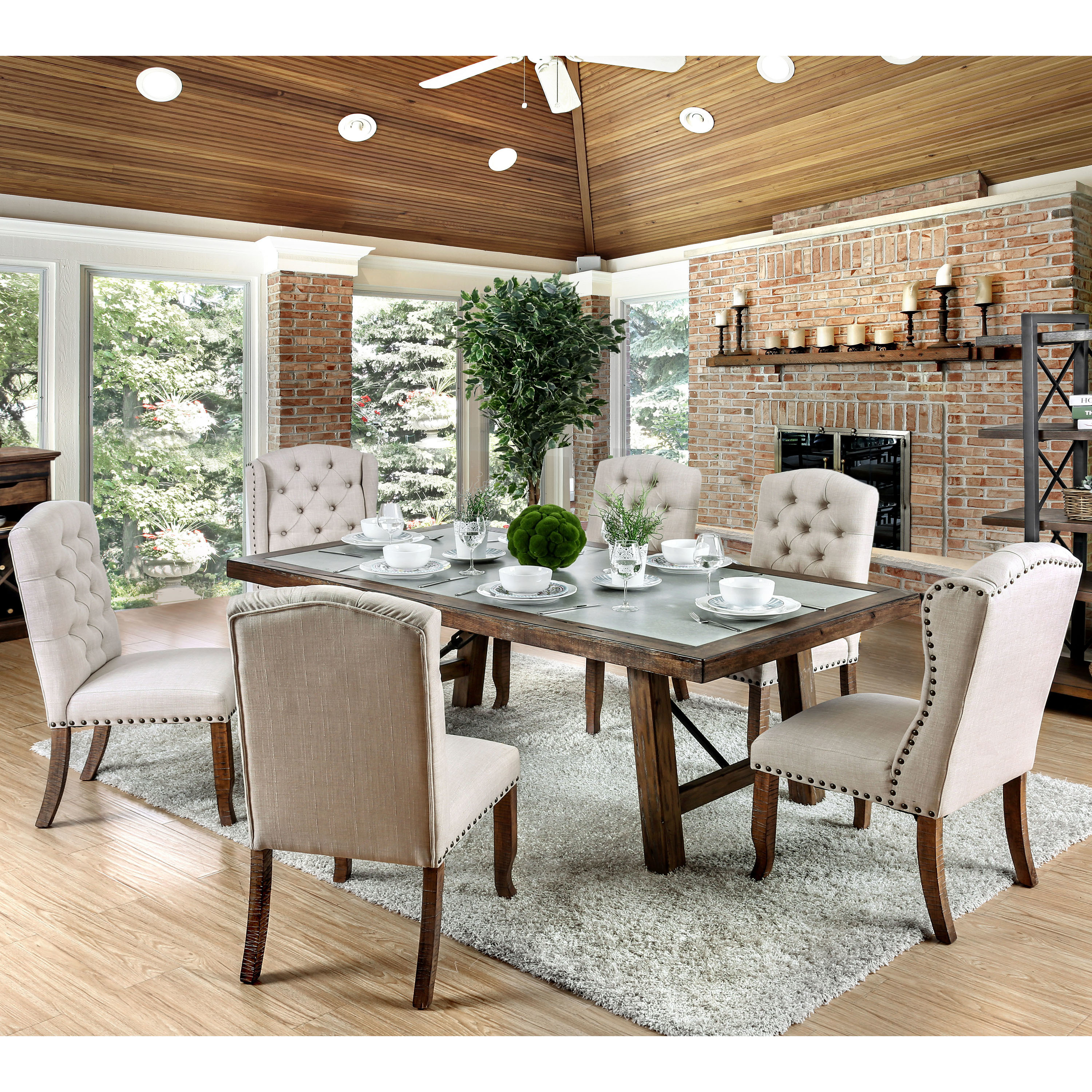furniture of america dining sets. Furniture Of America Matheson Rustic Tufted Dining Chairs (Set 2) - Free Shipping Today Overstock 26120439 Sets
