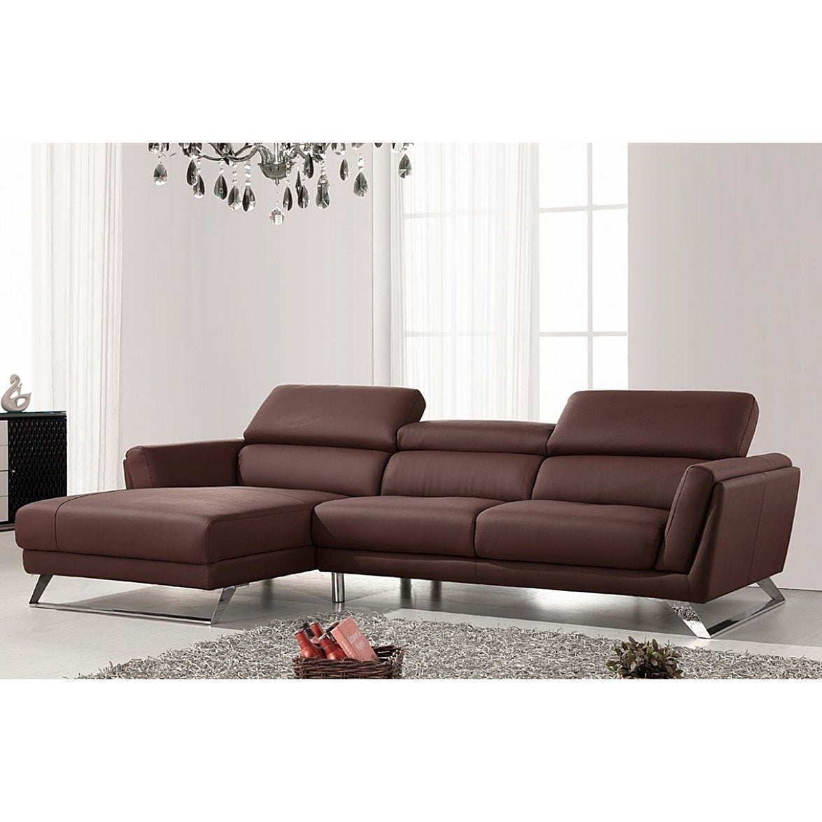 Shop Waldorf Modern Brown Leather L Shaped Sofa With Adjustable