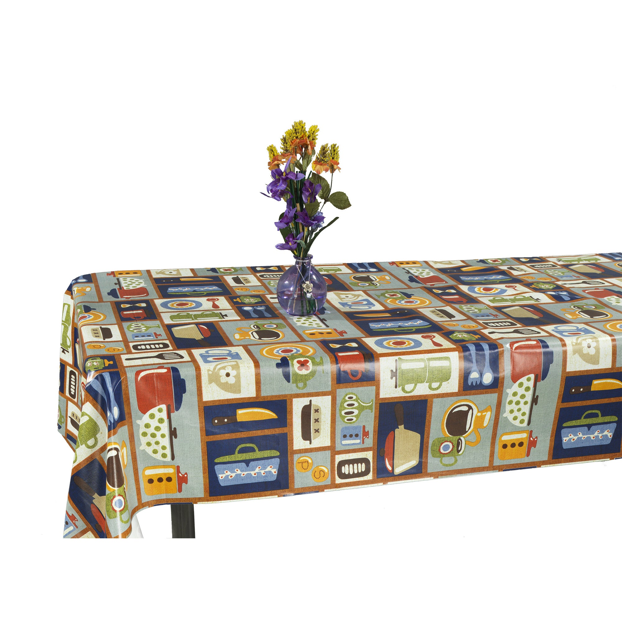 Ottomanson Vinyl Tablecloth Retro Kitchen Design Indoor & Outdoor ...