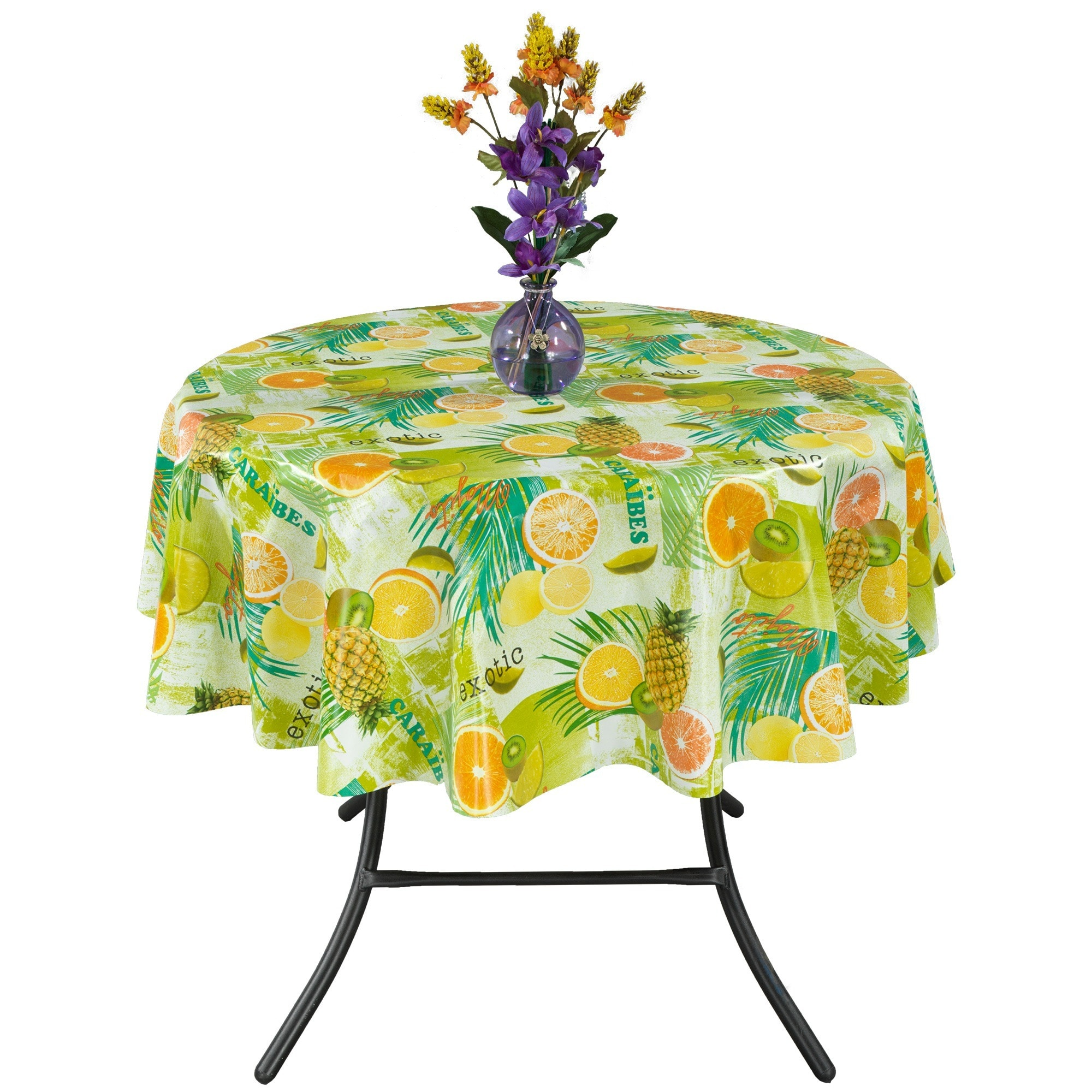 Shop Ottomanson Vinyl Tablecloth Tropical Fruit Design Indoor U0026 Outdoor  Non Woven Backing Tablecloth   On Sale   Free Shipping On Orders Over $45  ...