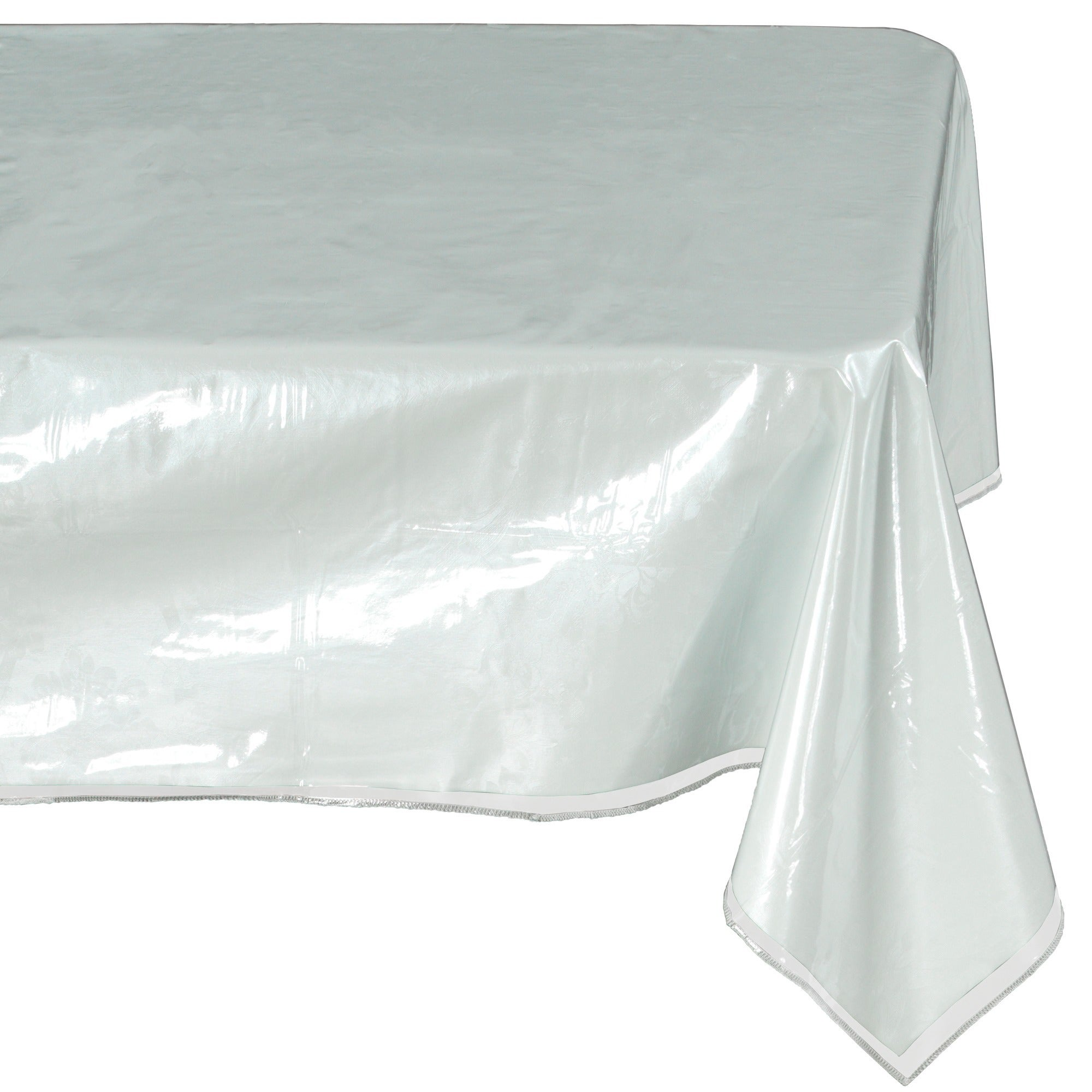 Ottomanson Heavy Duty Clear Plastic Tablecloth Clear Table Cover Protector White Sewn Edges Border Tablecloth  sc 1 st  Overstock & Shop Ottomanson Heavy Duty Clear Plastic Tablecloth Clear Table ...