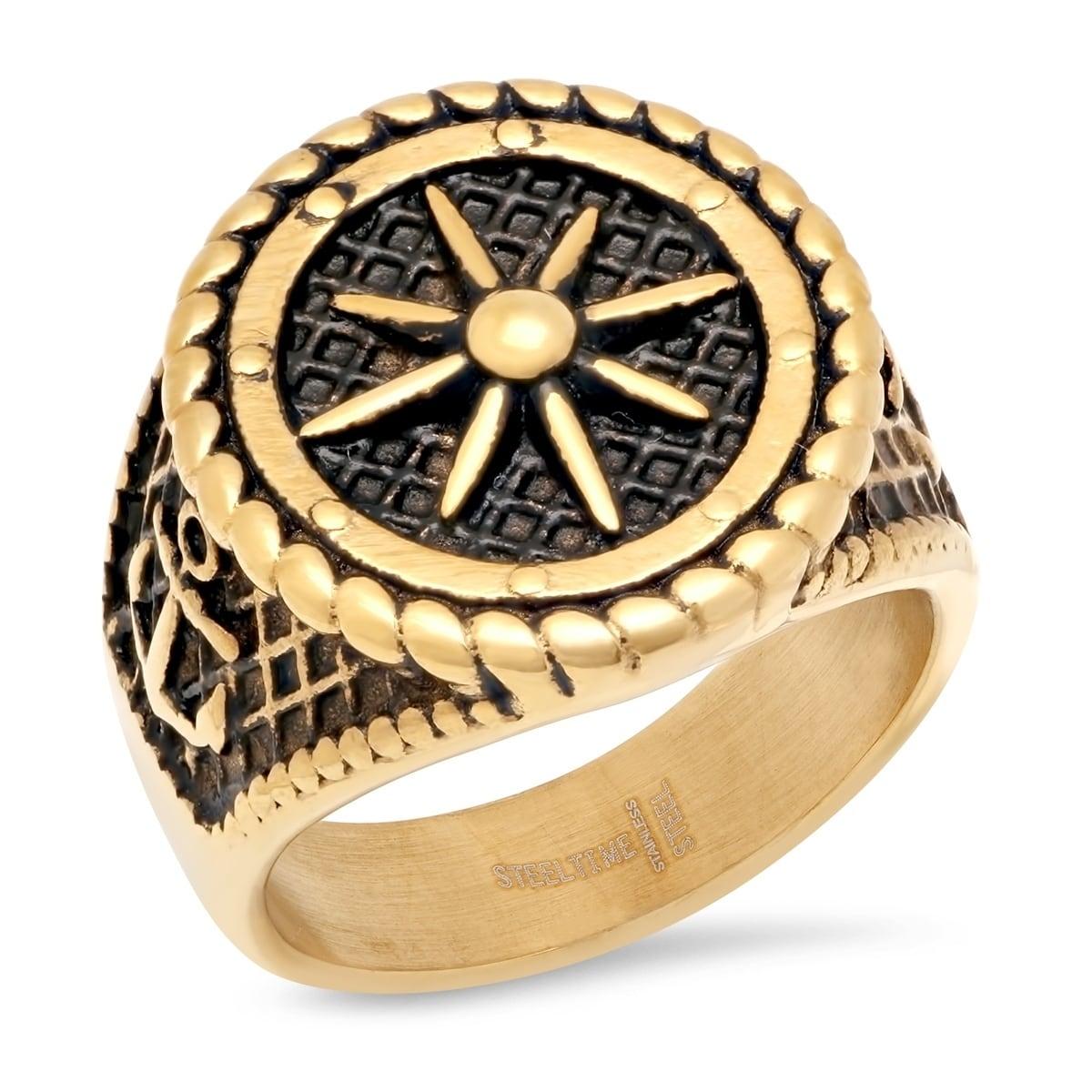 Shop Steeltime Men\'s Stainless Steel Ship Wheel Ring - On Sale ...