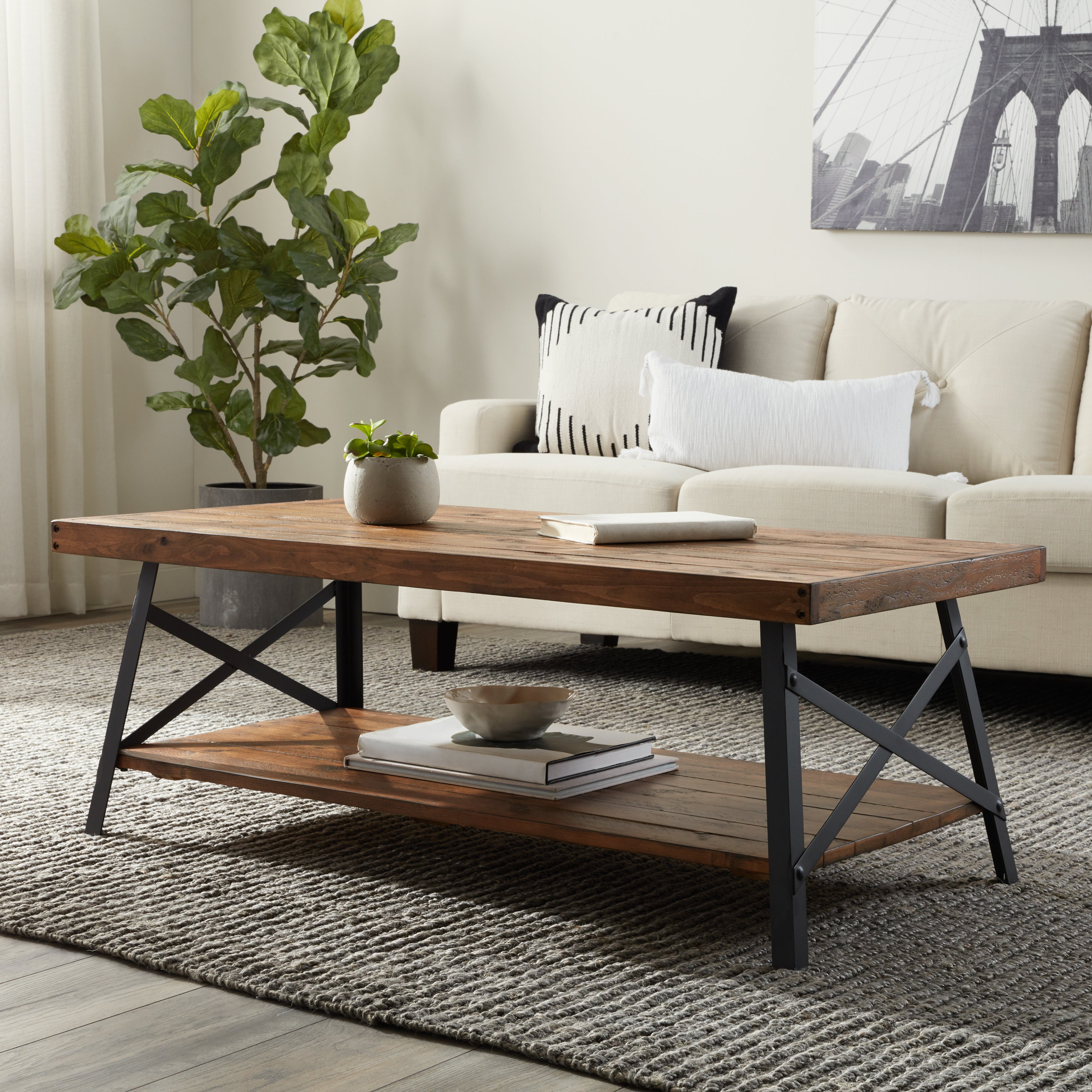 Carbon Loft Oliver Rustic Reclaimed Wood Coffee Table Free Shipping Today 20253954