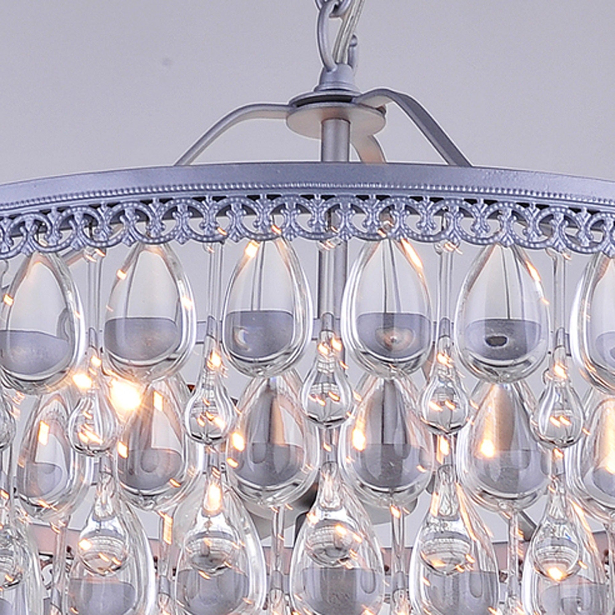 Shop Silver Orchid Crystal 6 Light Chandelier With Clear Teardrop How To Install A Stylish Beads On Sale Free Shipping Today 20253956