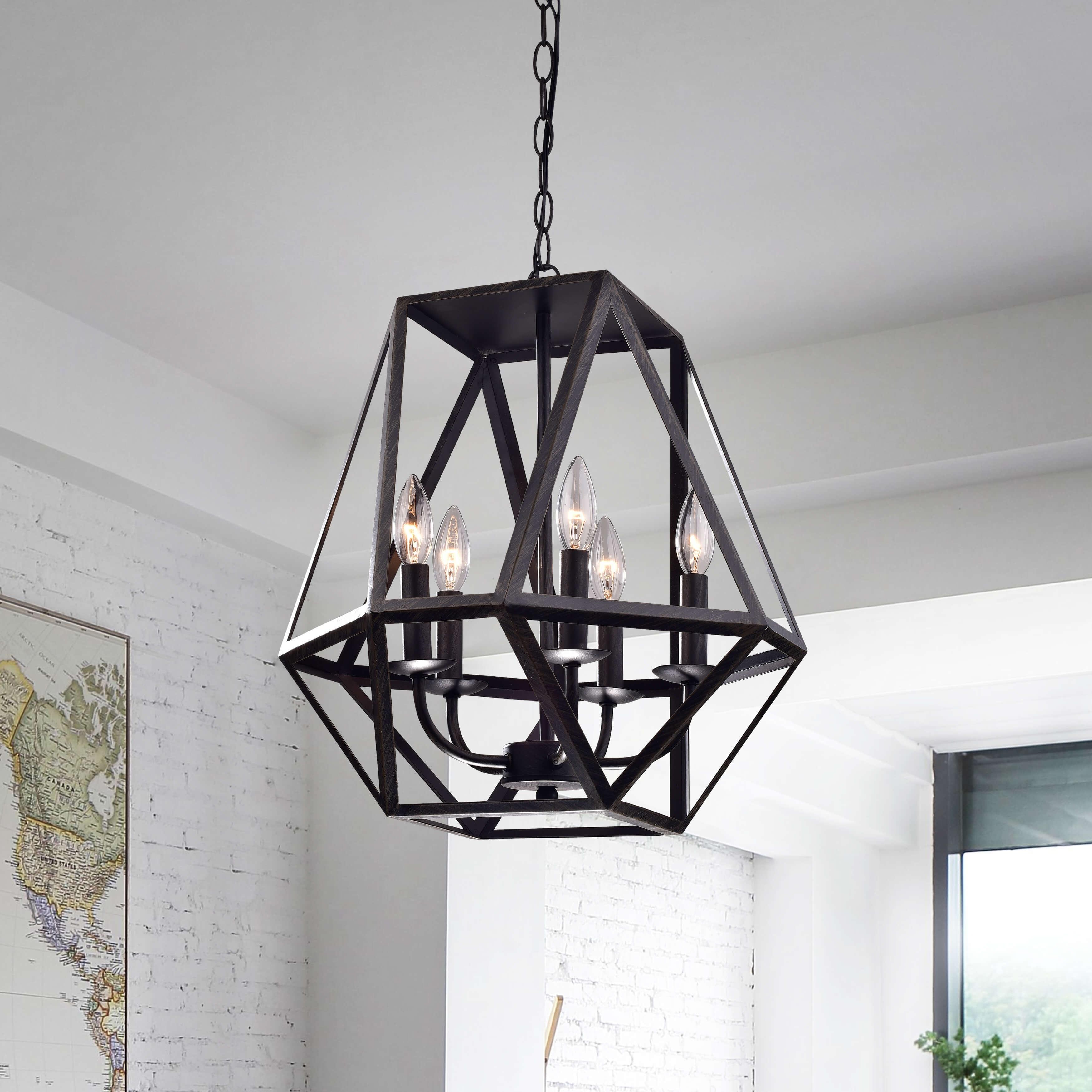 The gray barn otis 5 light antique black iron chandelier
