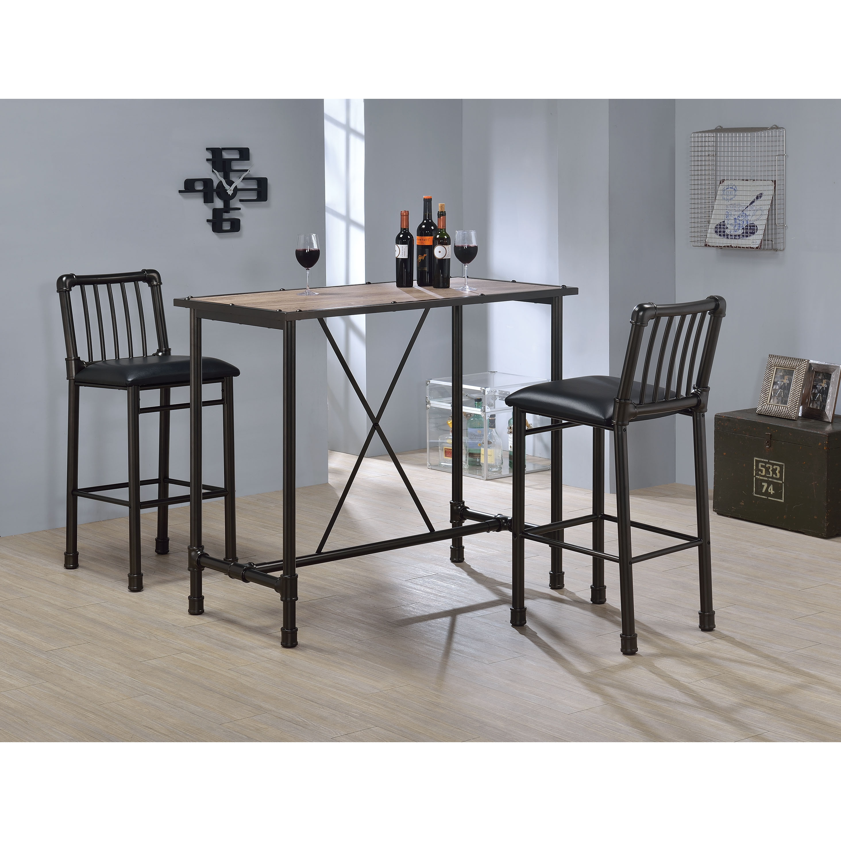 Carbon Loft Leona Rustic Oak And Metal Bar Table Free Shipping Today 20254231