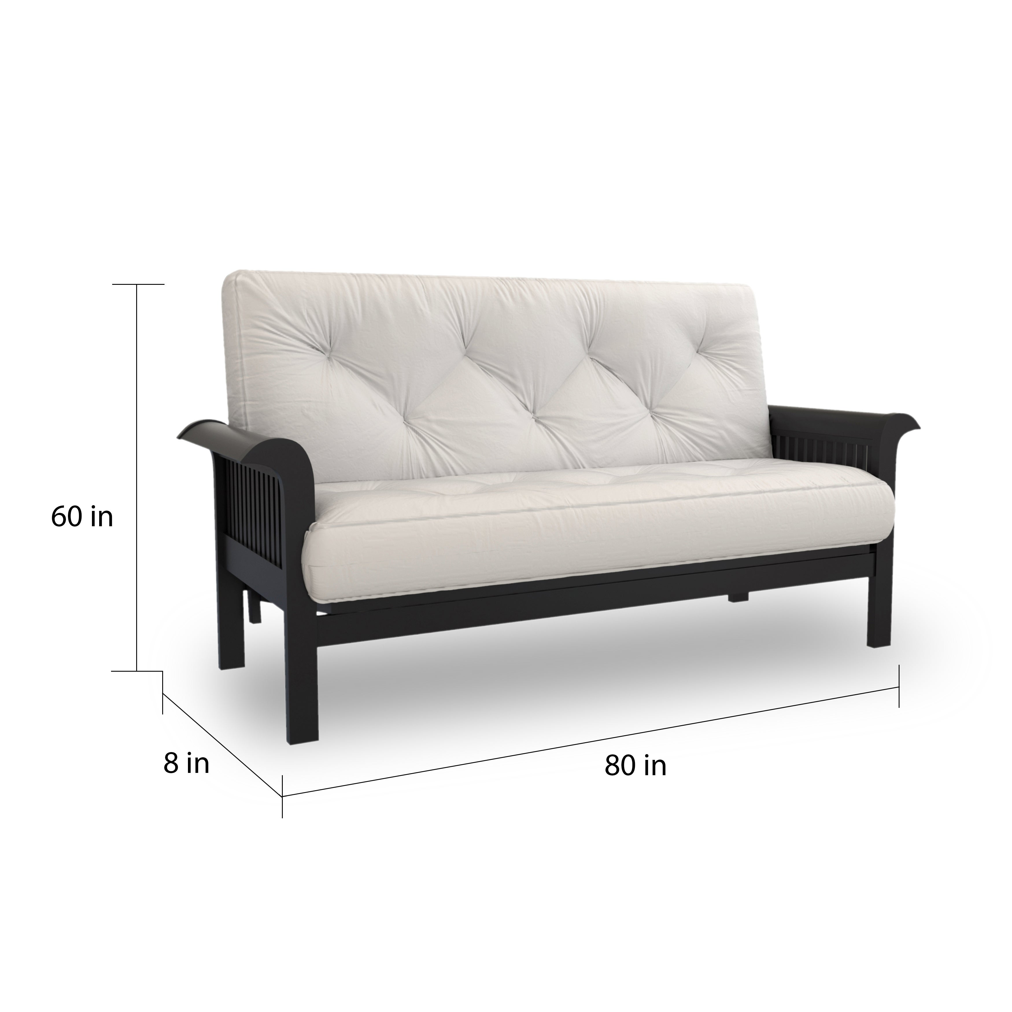 60 Inch Wide Futon Queen Size Sofa Bed With Suede Innerspring Mattress Frame