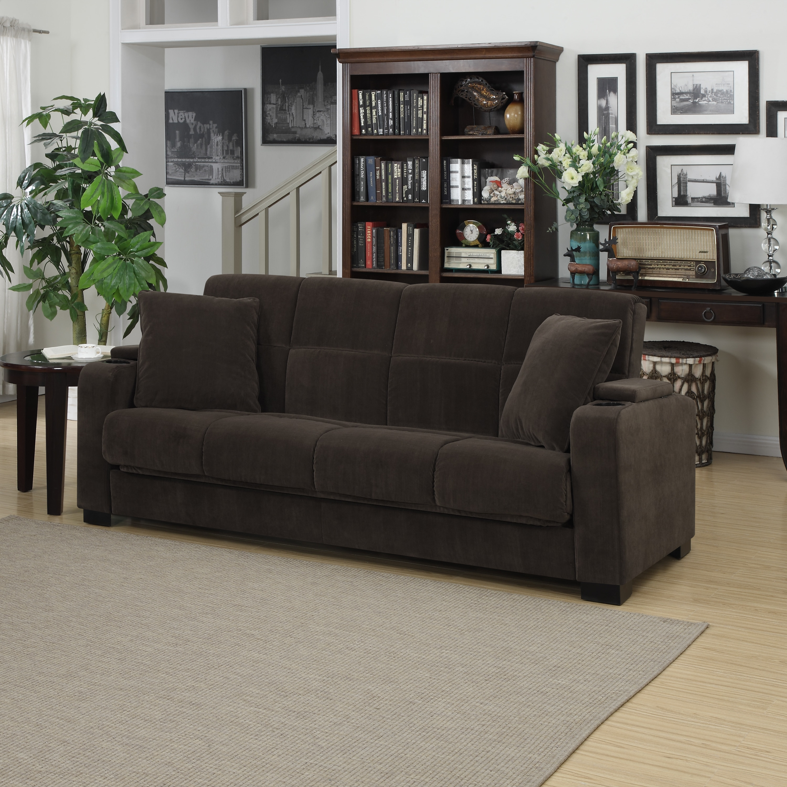 Shop Clay Alder Home Klingle Chocolate Brown Velvet Convert A Couch Storage  Arm Futon Sofa Sleeper   On Sale   Free Shipping Today   Overstock.com   ...