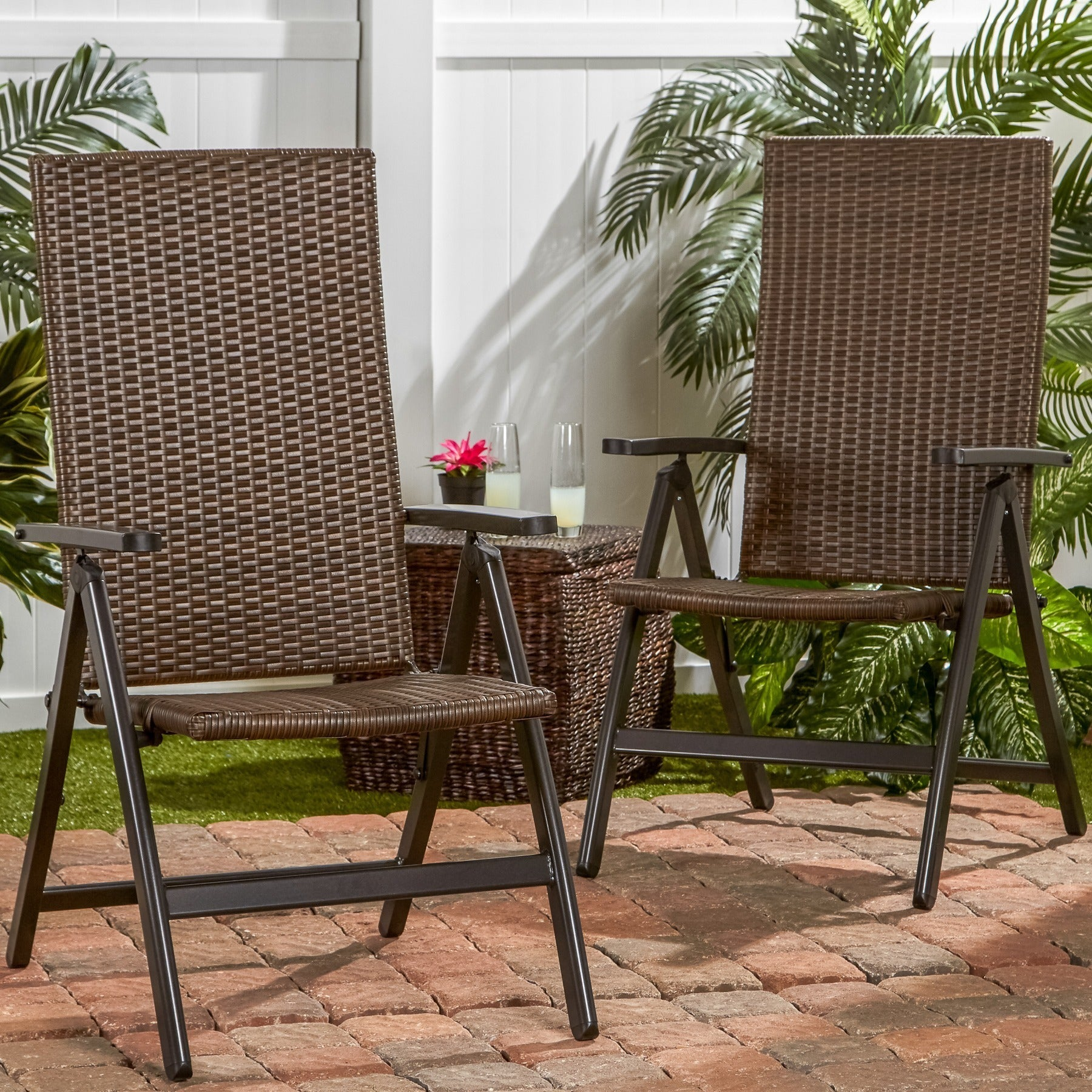 Clay Alder Home Robyville Hand Woven Pe Wicker Outdoor Reclining Chairs Set Of Two Free Shipping Today 20254939