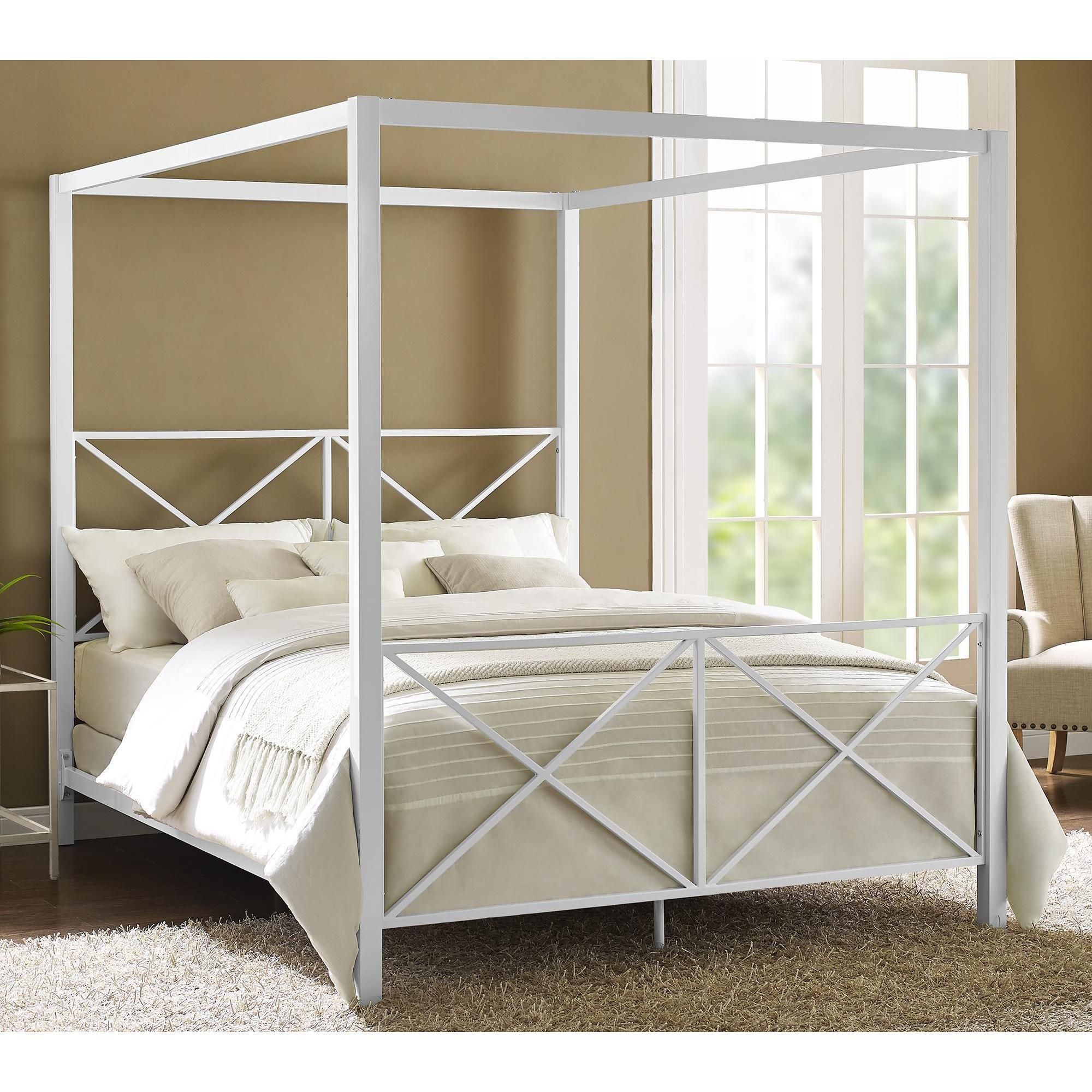 Avenue Greene Rosemarie White Metal Canopy Bed Free Shipping Today 20255017