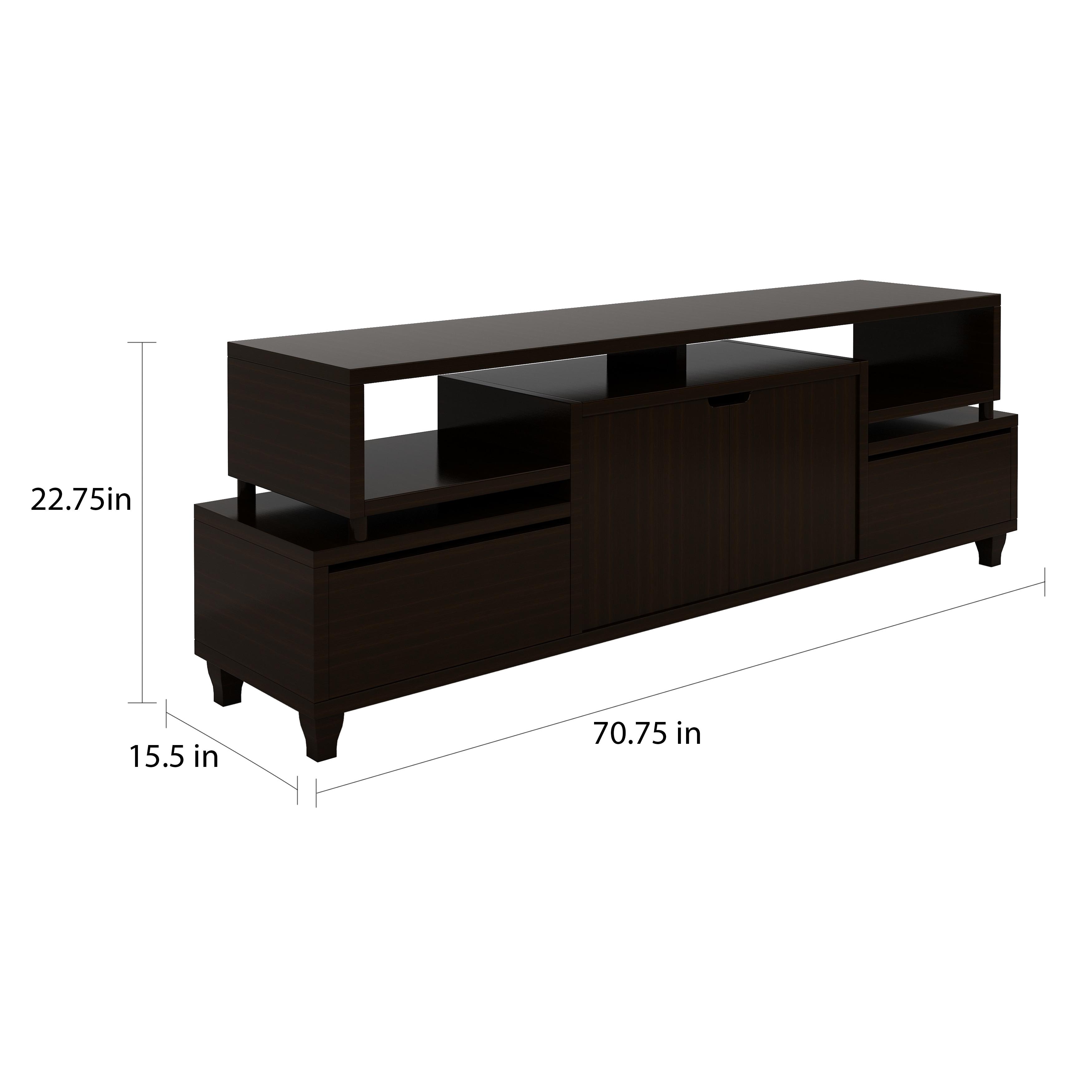 Shop Porch Den Brickell Tiered Storage Cappuccino 70 Inch Tv Stand
