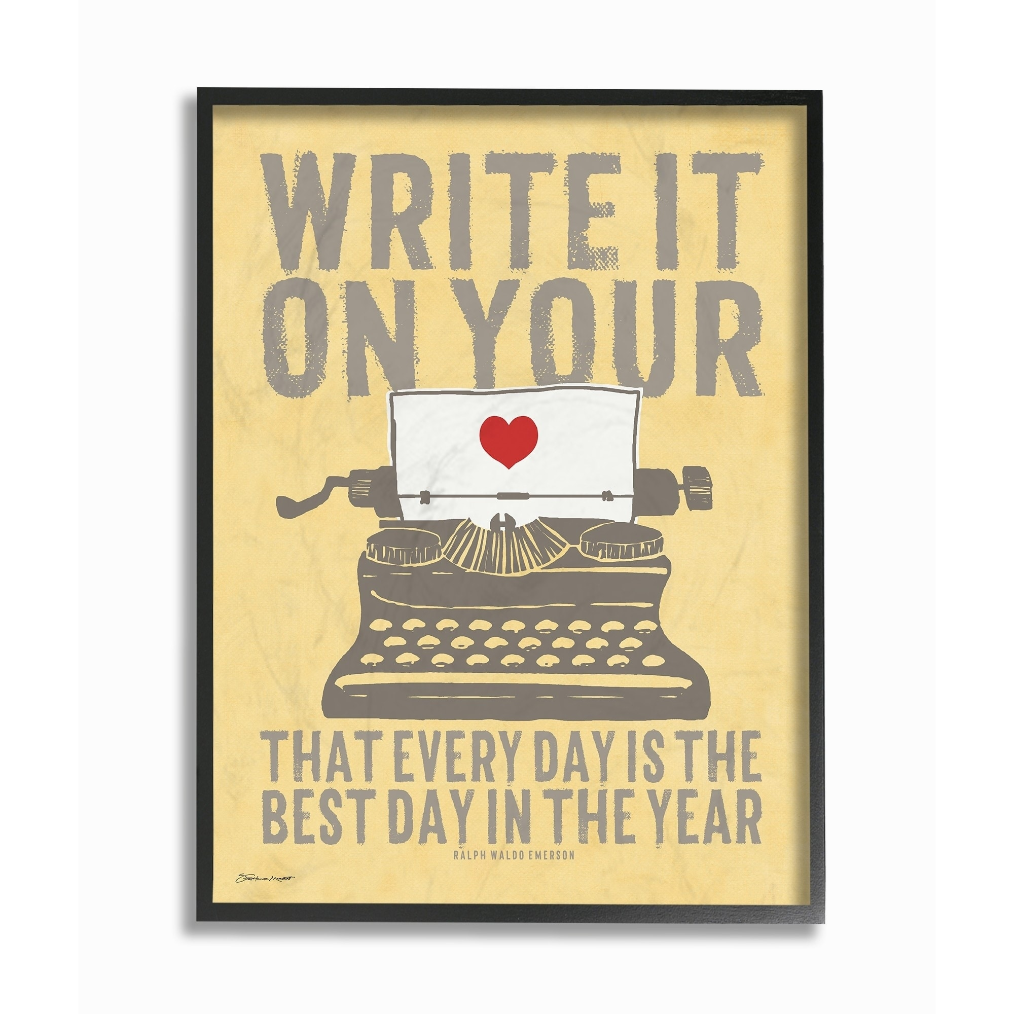 Stupell Industries Write It On Your Heart Typewriter Framed Wall Art ...