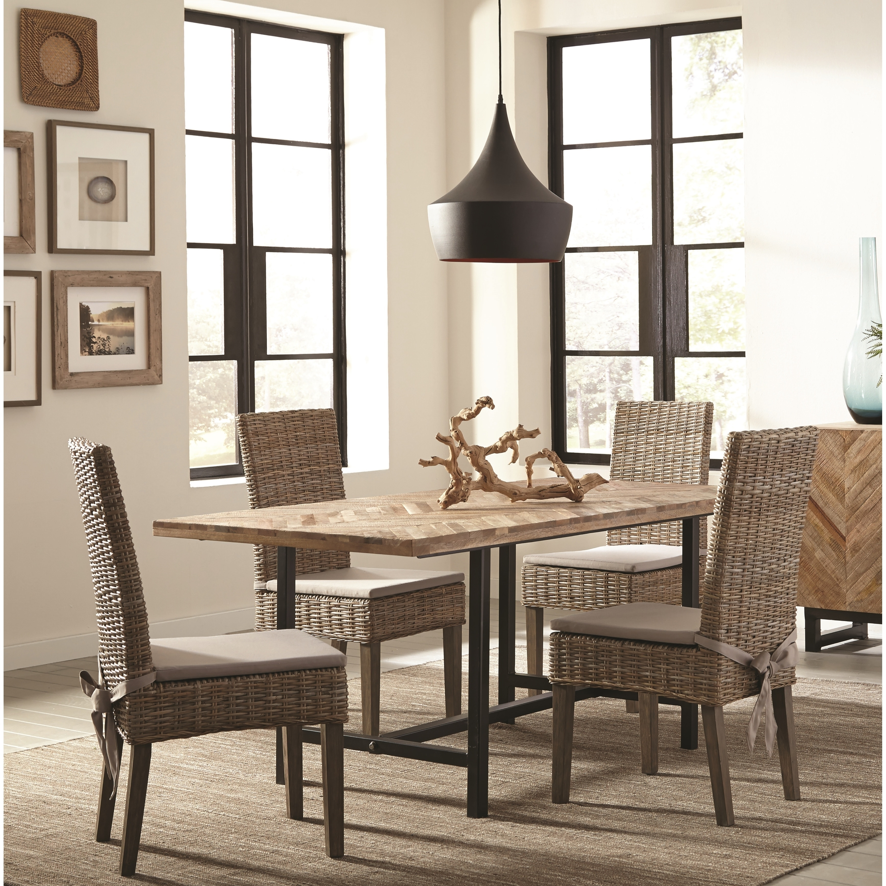 Rustic Industrial Style Dining Set With Chevron Pattern Wood Table Top    Free Shipping Today   Overstock   26145110