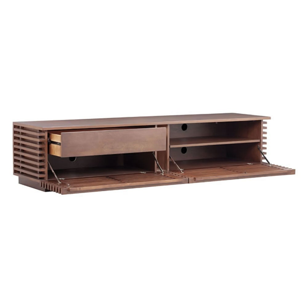 Shop Zuo Linea Wide TV Stand Walnut - Free Shipping Today ... Zuo Modern Linea Credenza Html on