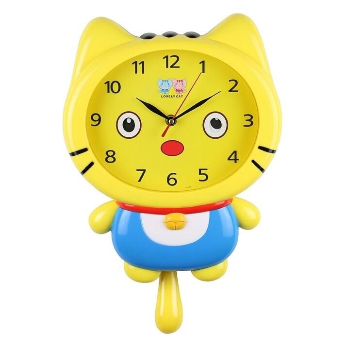 Shop Yellow Cat Wall Clock Movable Eyes Cute Kawaii Children\'s Home ...