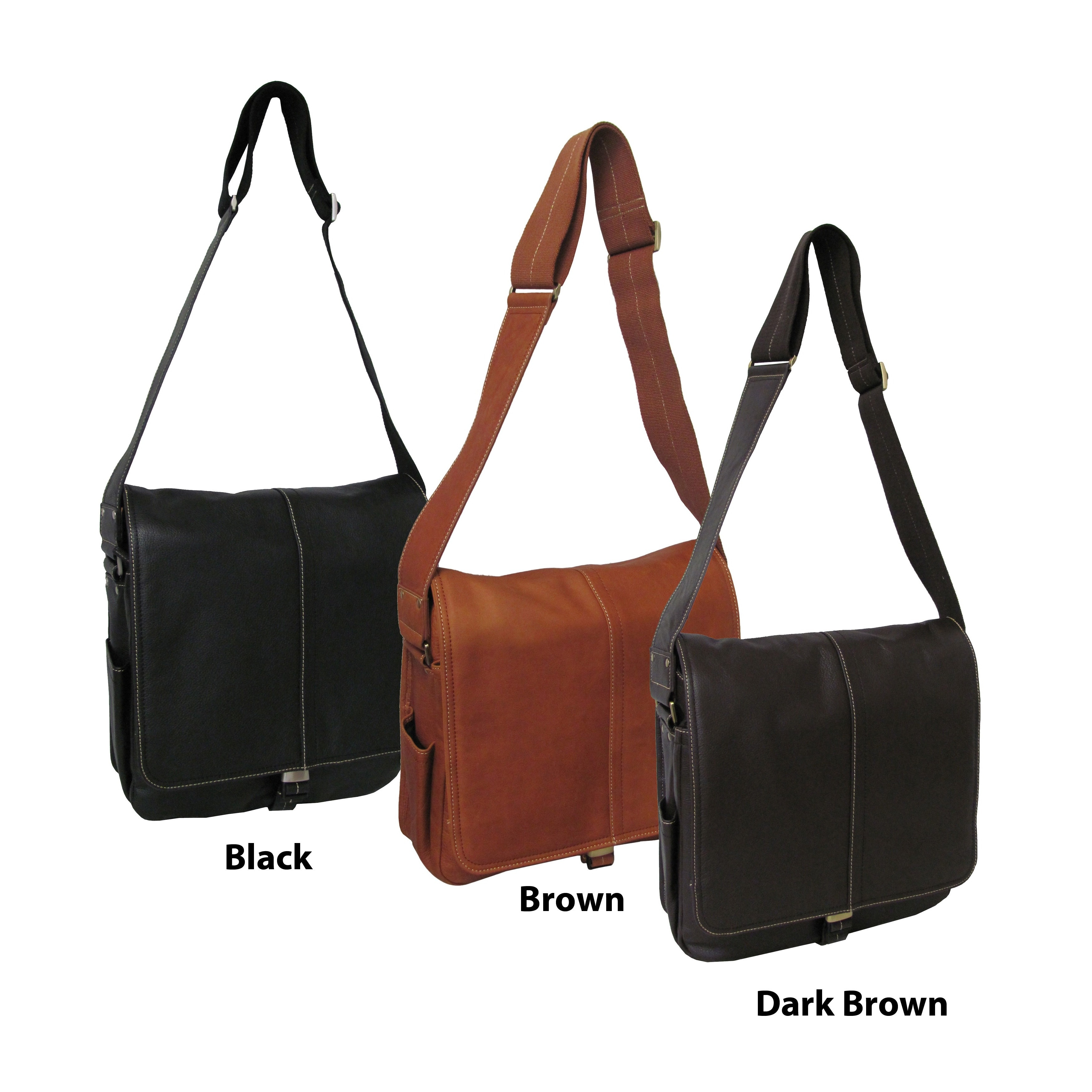 Shop Amerileather Leather Teddy Vertical Messenger Bag