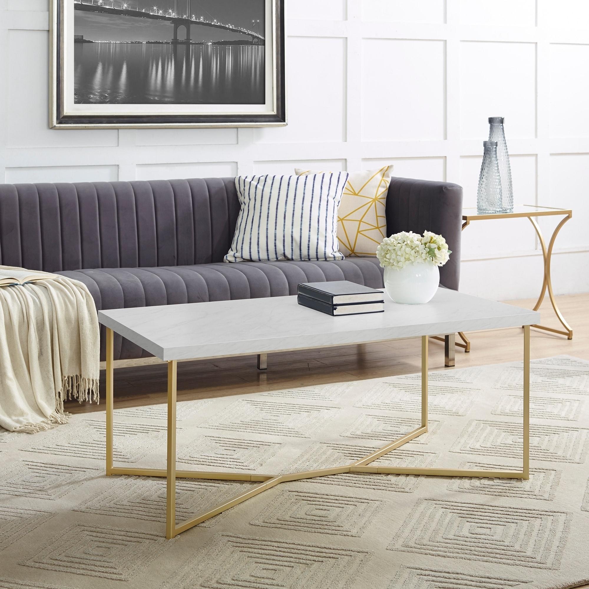 Shop 42-inch Elegant Modern Y-Leg Coffee Table - On Sale - Free ...