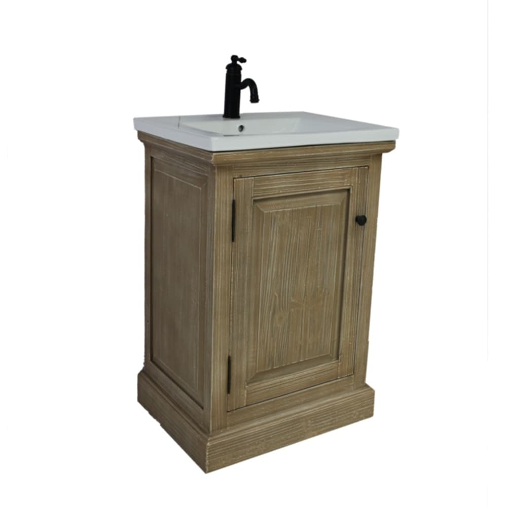Shop 24rustic solid fir single sink vanity with ceramic top no faucet free shipping today overstock com 20272717