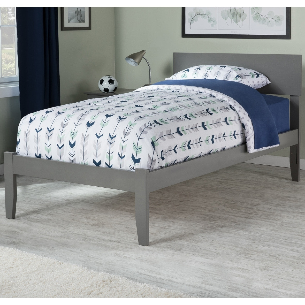 Orlando Twin Xl Platform Bed With Open Foot Board In Atlantic Grey By Furniture