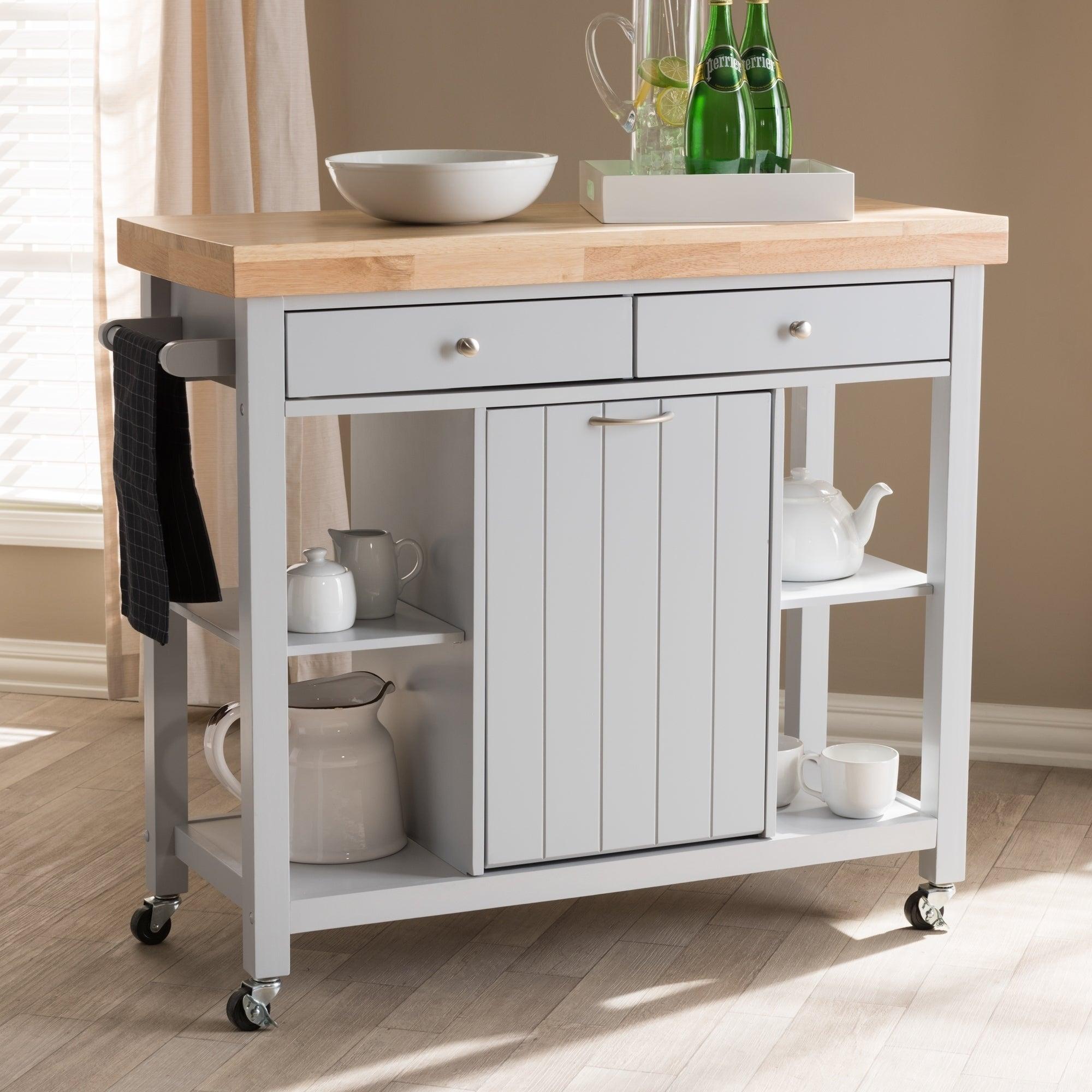 Farmhouse Grey Wood Kitchen Cart by Baxton Studio - Free Shipping ...