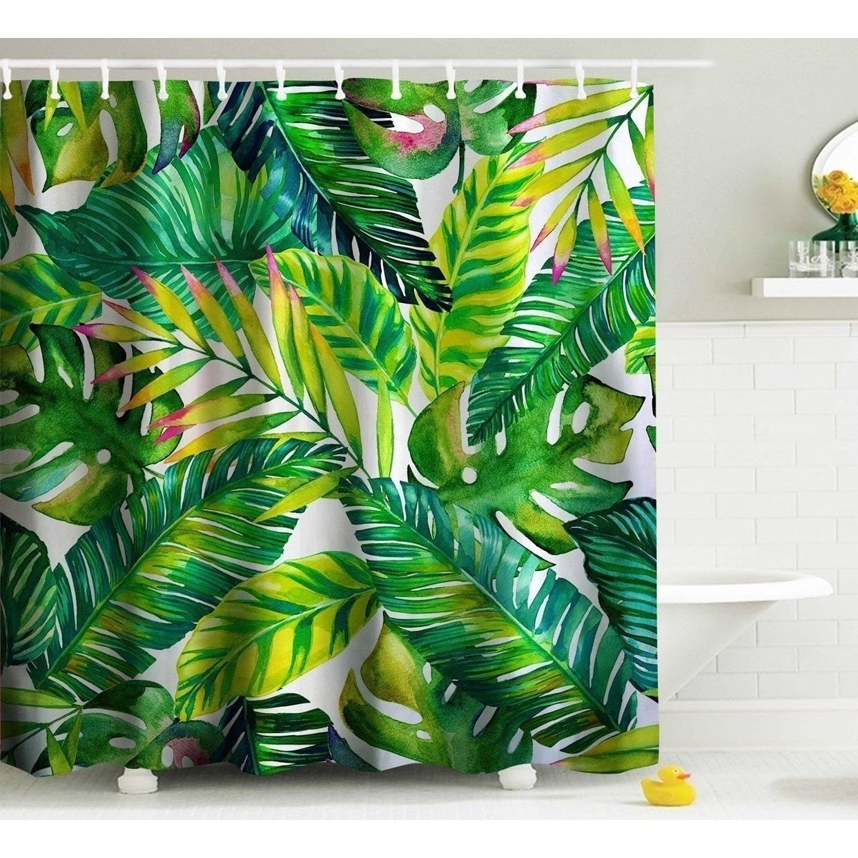 Shop Green Banana Leaf Shower Curtain Fabric Curtains With Hooks