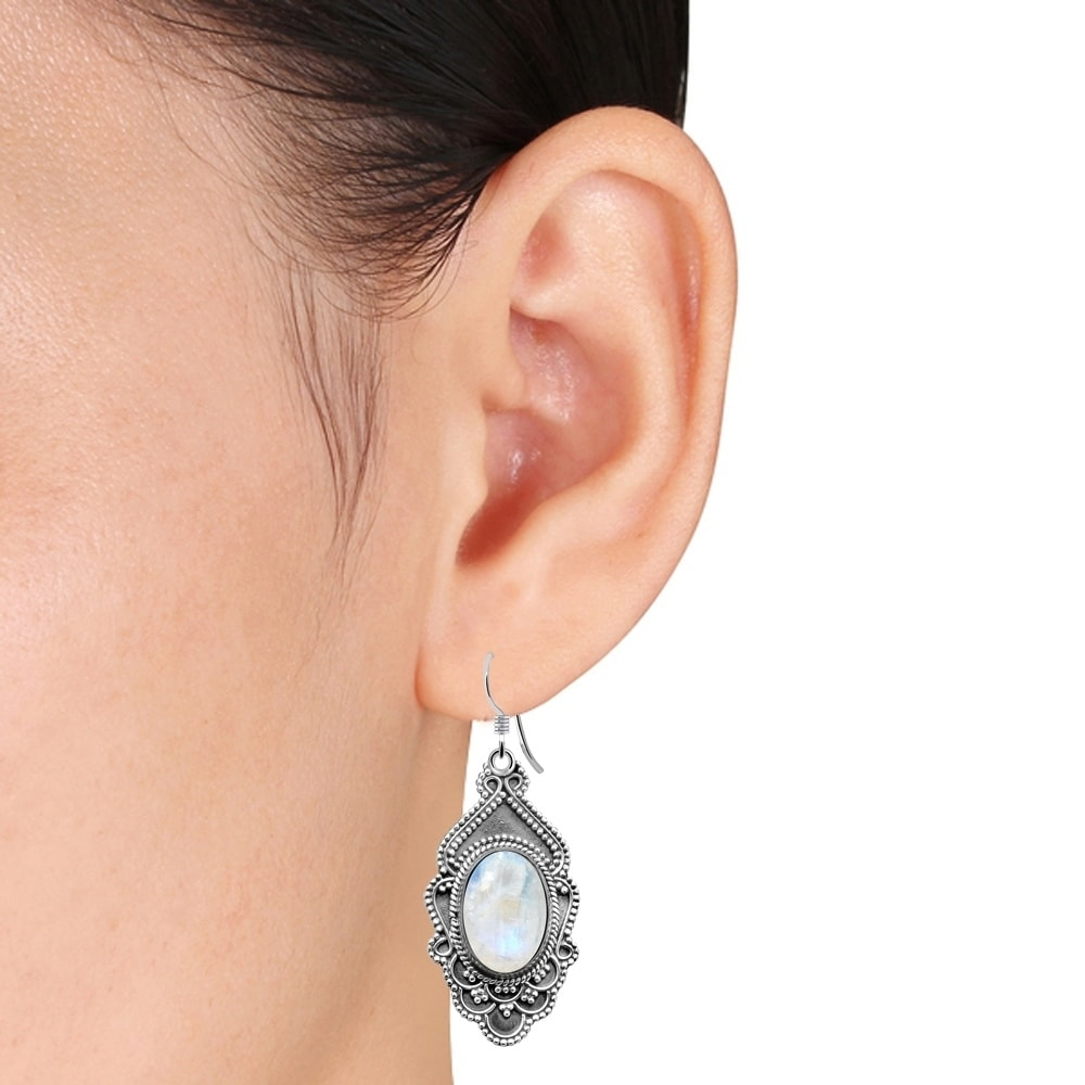 earring floral work lily product long stud design silver cut leeli earrings
