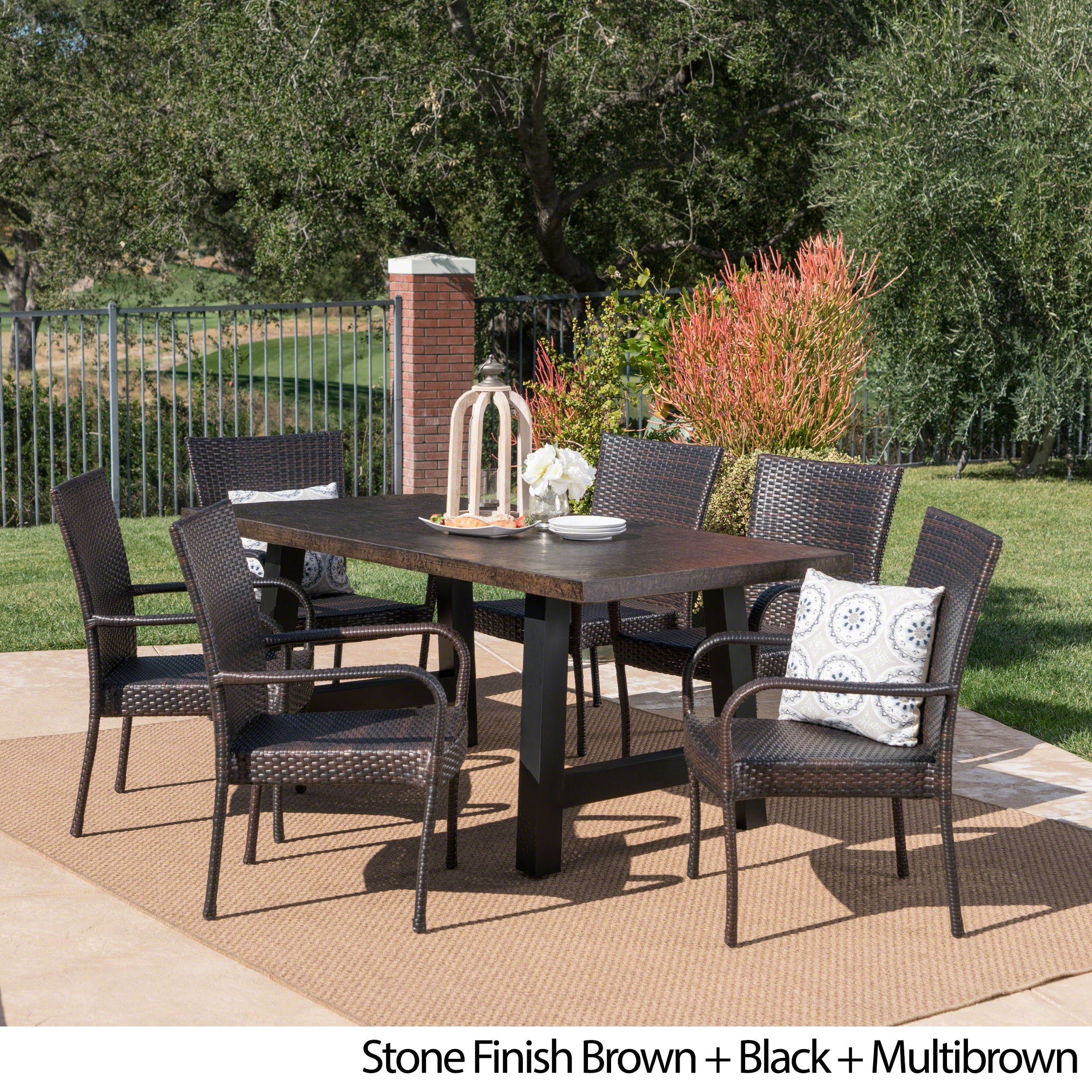 Shop Pelican Outdoor 7 Piece Rectangle Light Weight Concrete Wicker Dining  Set By Christopher Knight Home   Free Shipping Today   Overstock.com    20301169